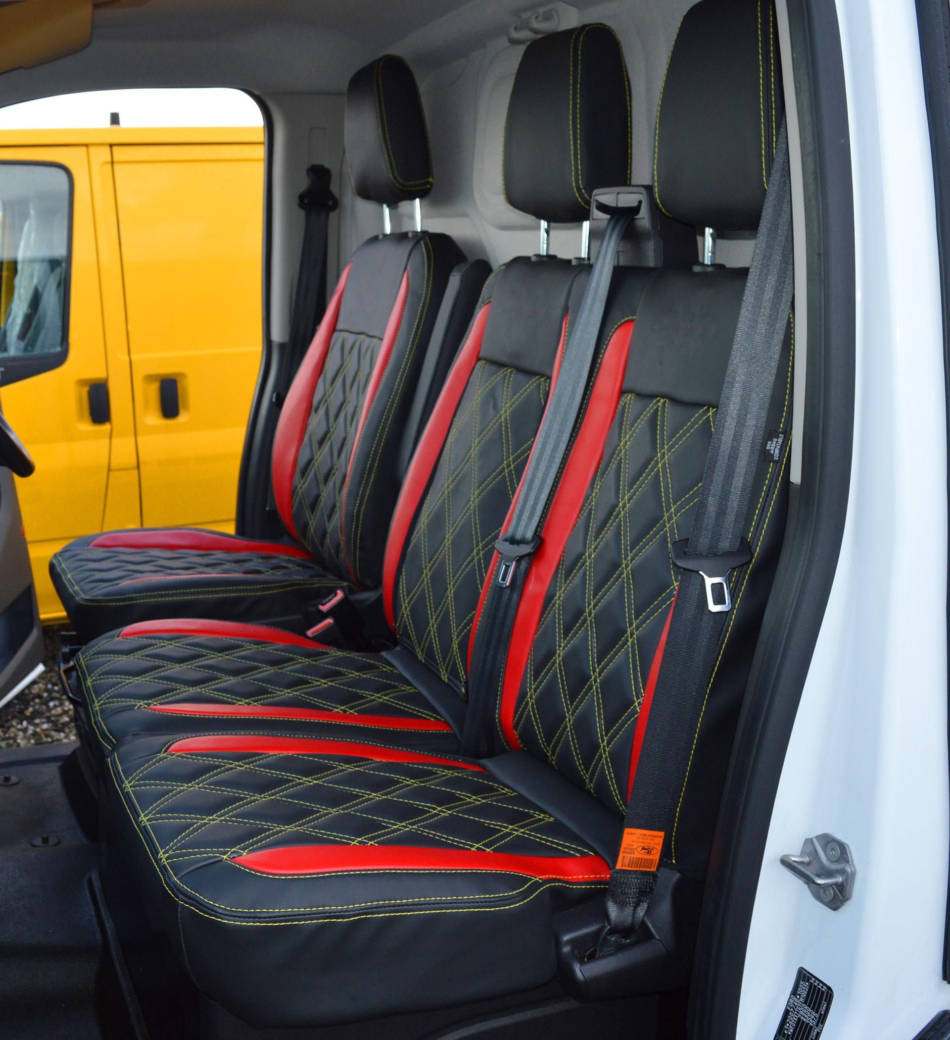 BMW Car Cover >> Ford Transit Custom Waterproof Tailored Van Seat Cover With Diamond Quilting, Yellow Stitching