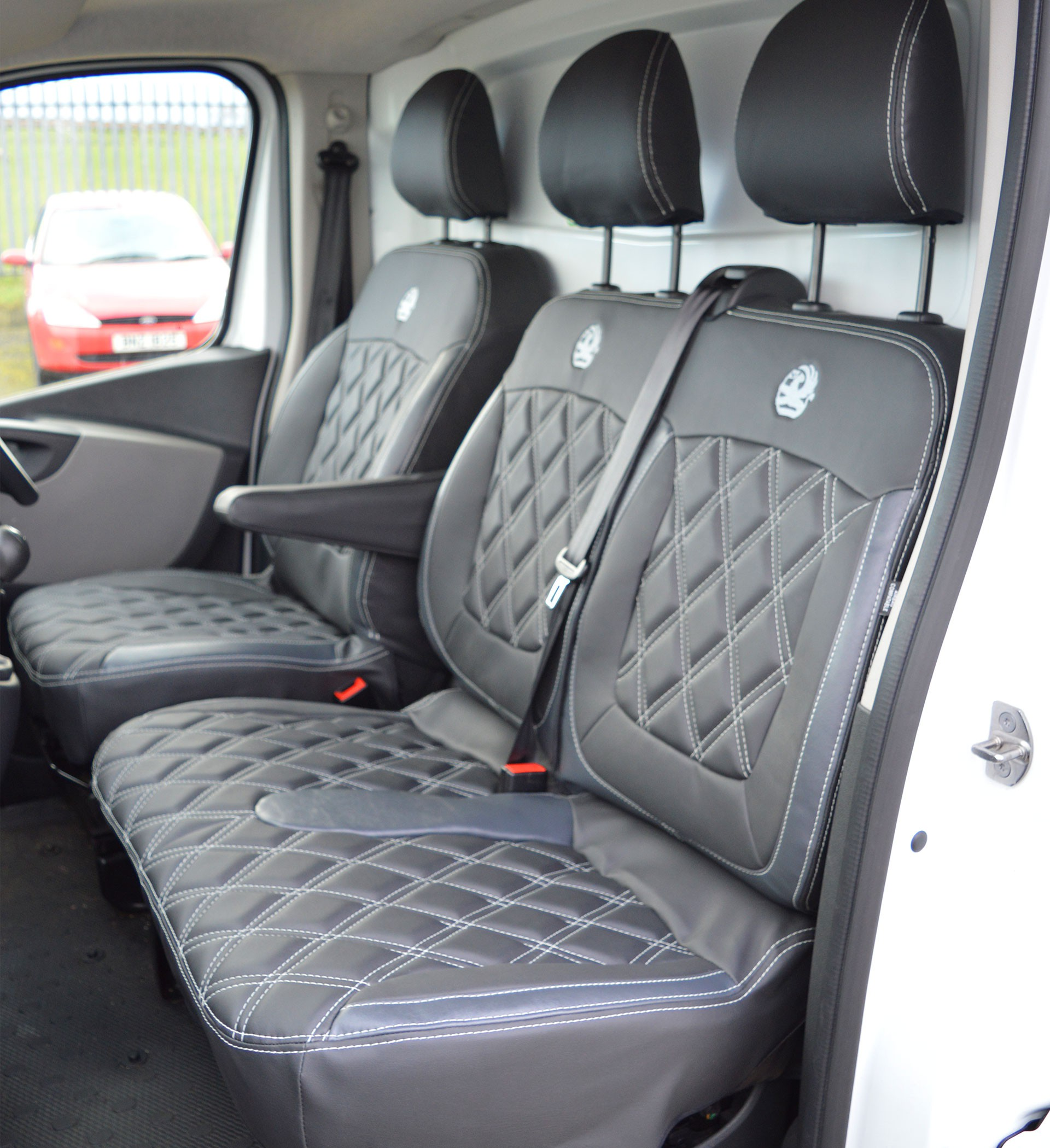 Rhinos-Autostyling FOR PEUGEOT EXPERT 2017 1 2 Premium Van Seat Covers Single Drivers And Double Passengers Seat Covers Black Quilted Diamond Leather