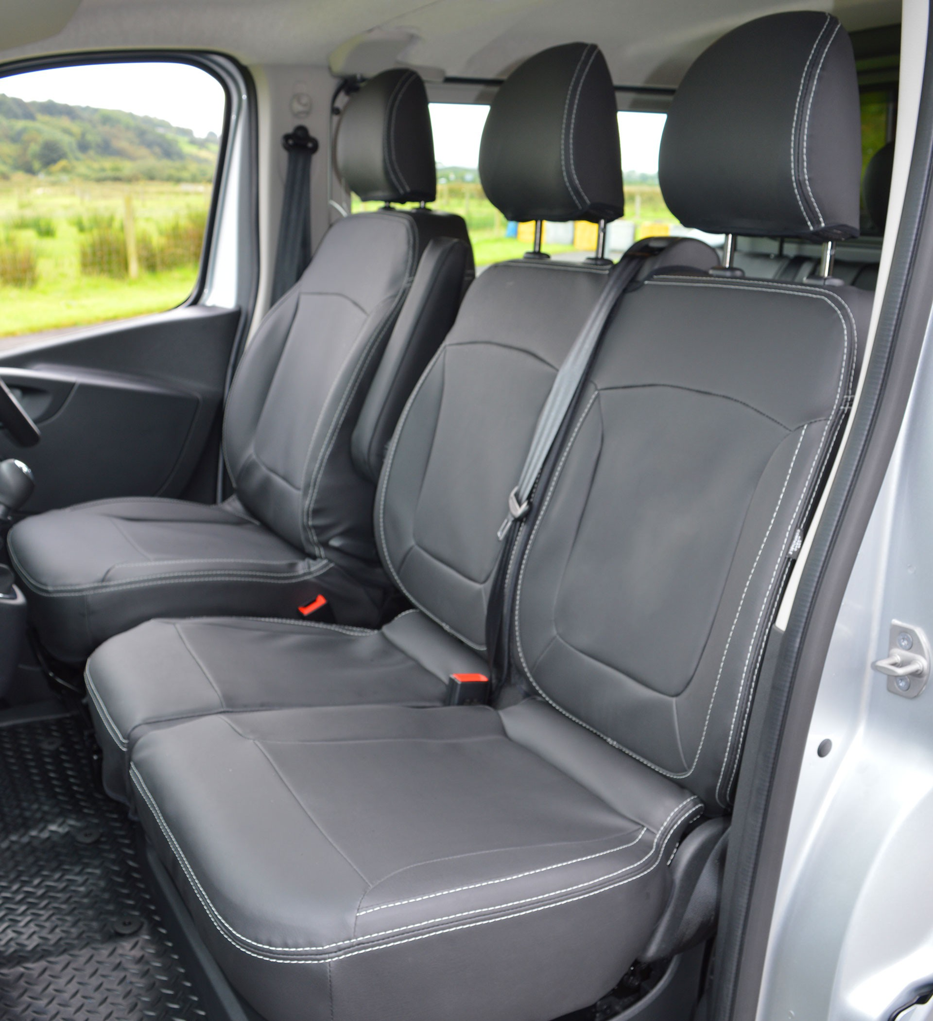 Custom Leather Seat Covers >> Renault Trafic Leather Look Double Cab Seat Covers - Charcoal