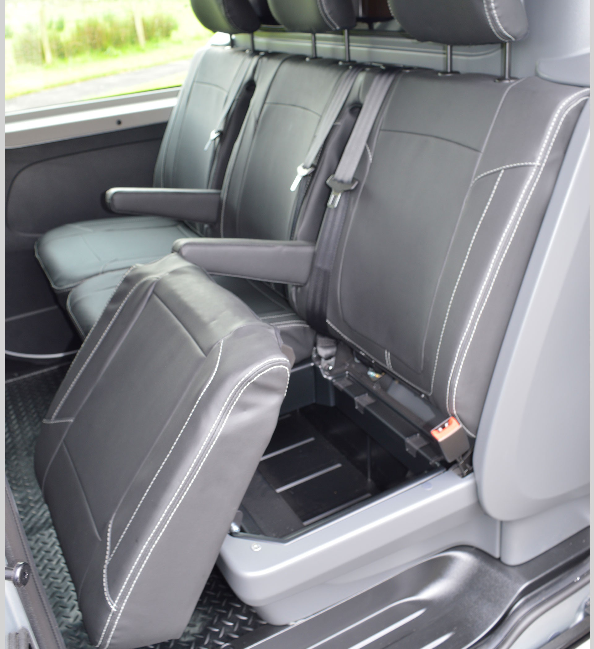 Renault Trafic Leather Look Double Cab Seat Covers Charcoal