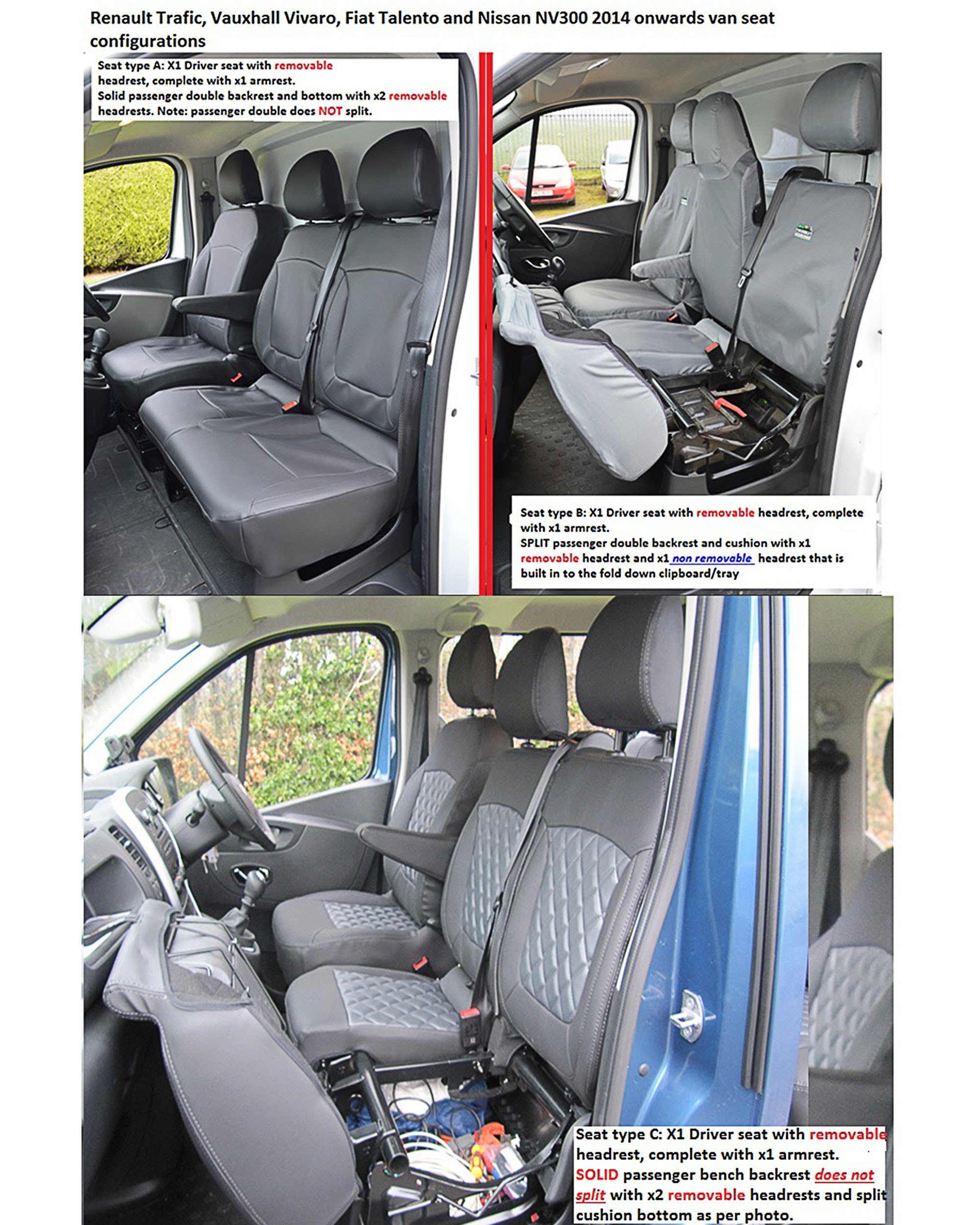 2+1 RED SINGLE /& DOUBLE COMFORT FABRIC SEAT /& ARMREST COVERS FOR RENAULT TRAFIC