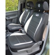 Volkswagen VW Caddy Van Seat Cover - Black With White Inserts And Double Logo