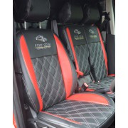 Ford Transit Connect Black & Red Seat Covers