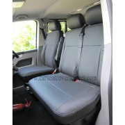 Volkswagen VW Transporter T5 9 Seater Black Seat Covers with Double Top Stitching