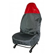 AUDI A3 Polyester Single Seat Protector Grey & Red Flag Logos