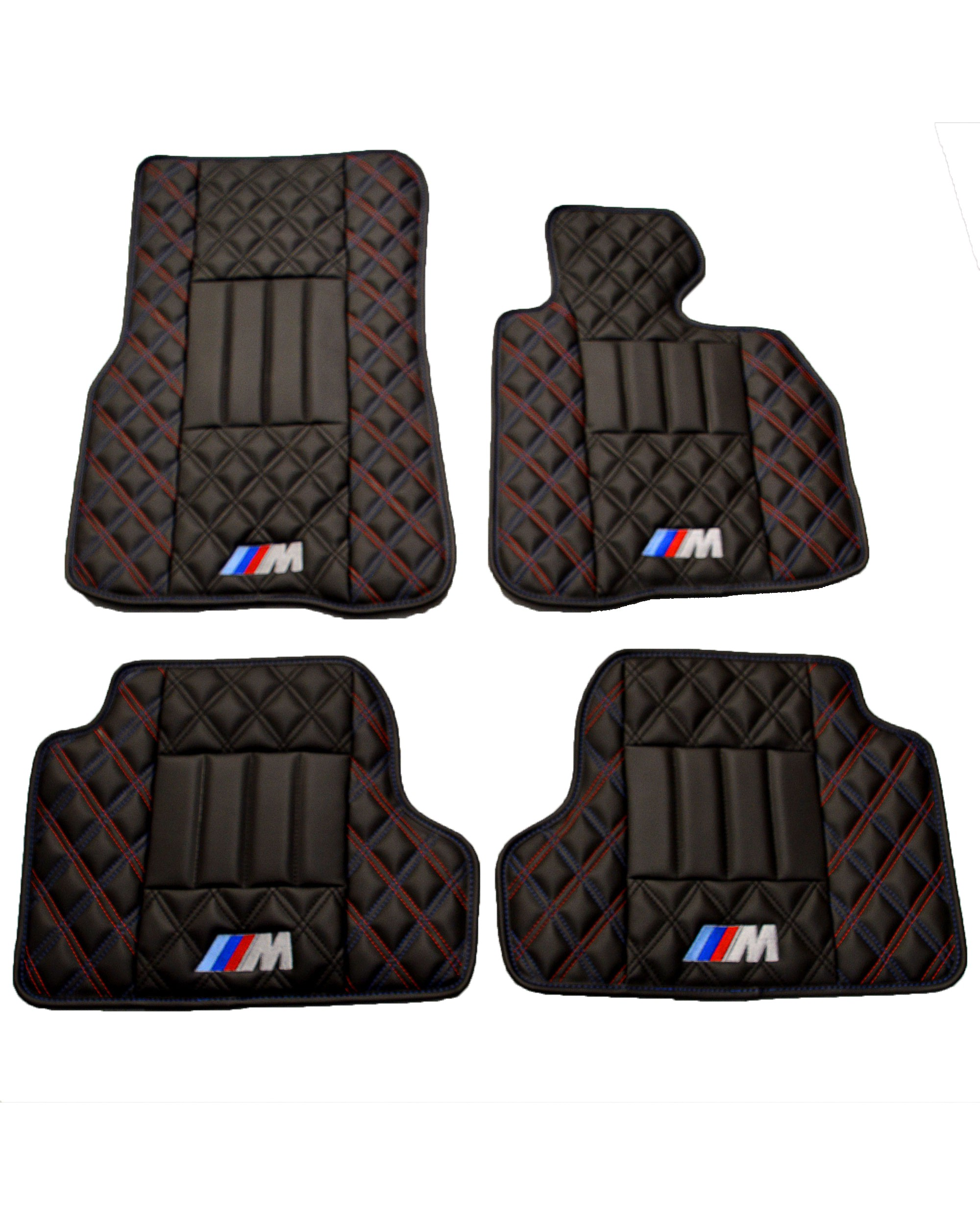BMW 4 Series M Sport Luxury Floor Mats - Black Quilted Diamond Diamonds
