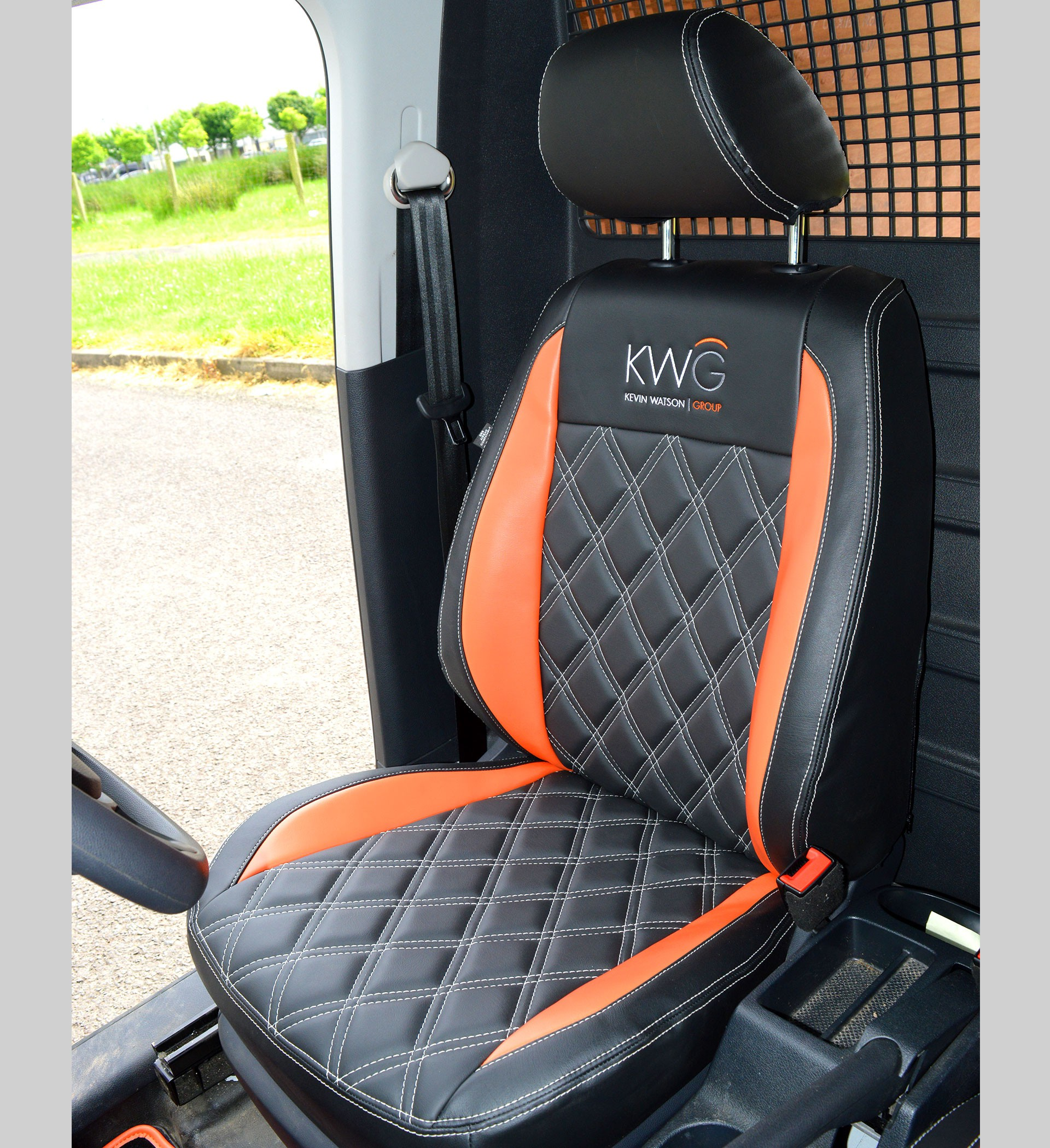 Volkswagen VW Caddy Tailored Van Seat Covers - Black & Orange Inserts