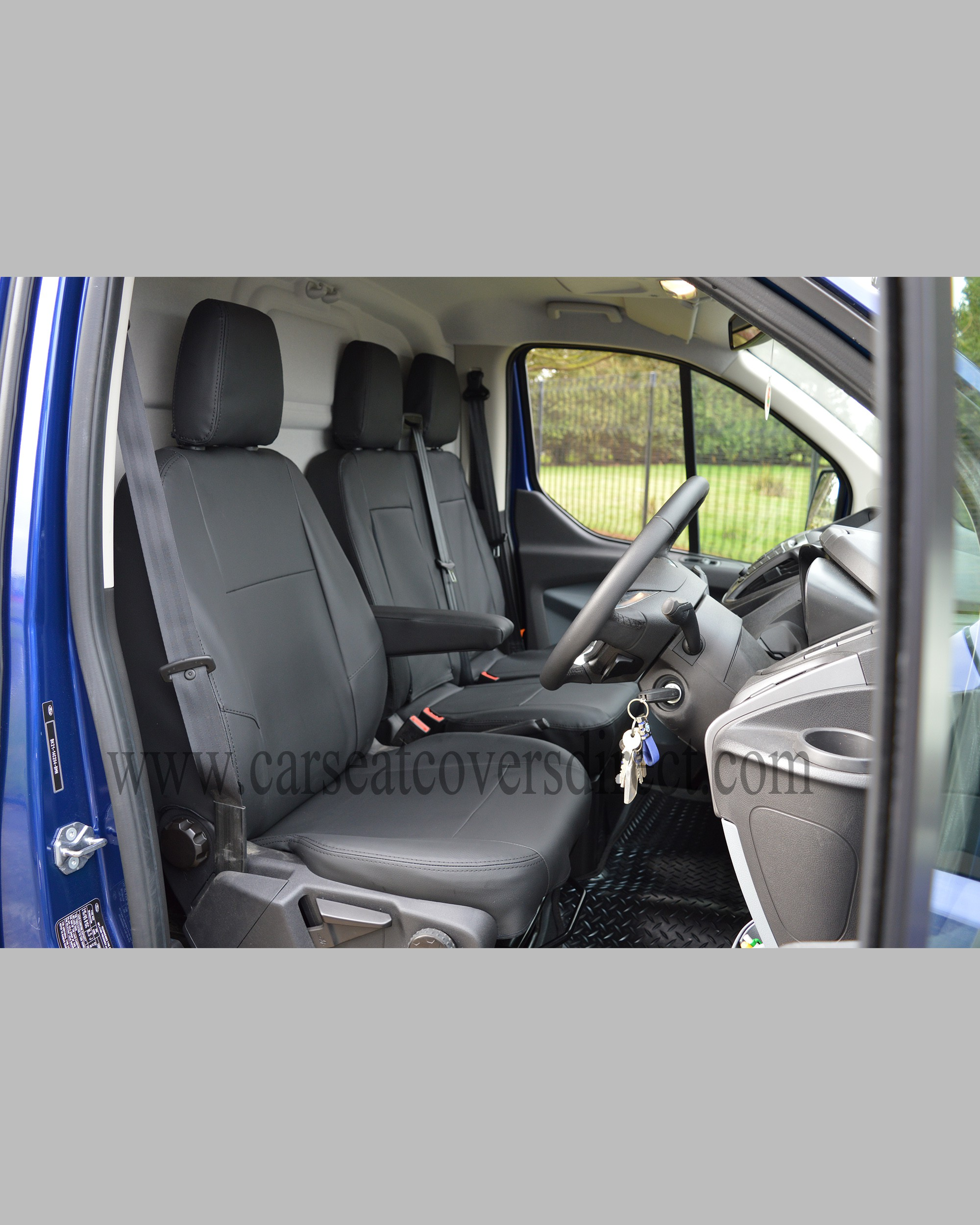Ford transit custom black leatherette seat covers