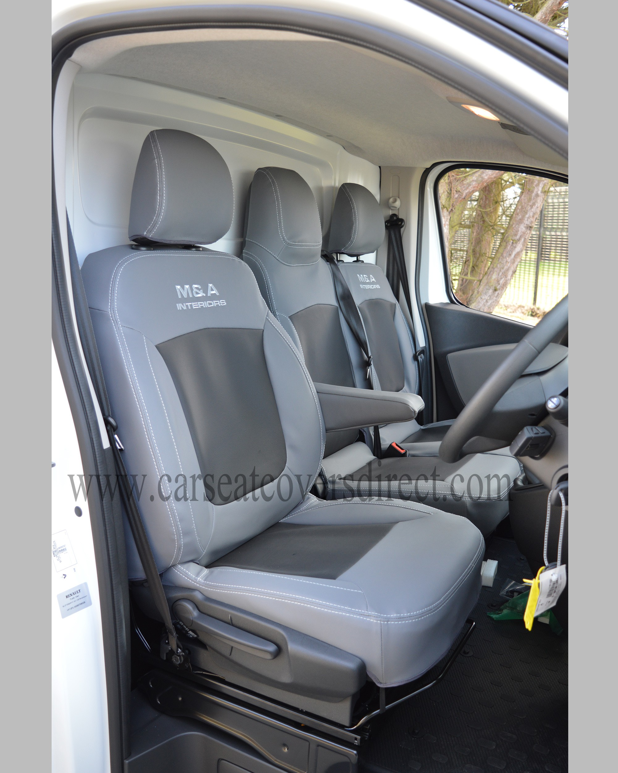 Opel Vivaro 3rd gen grey & black seat covers