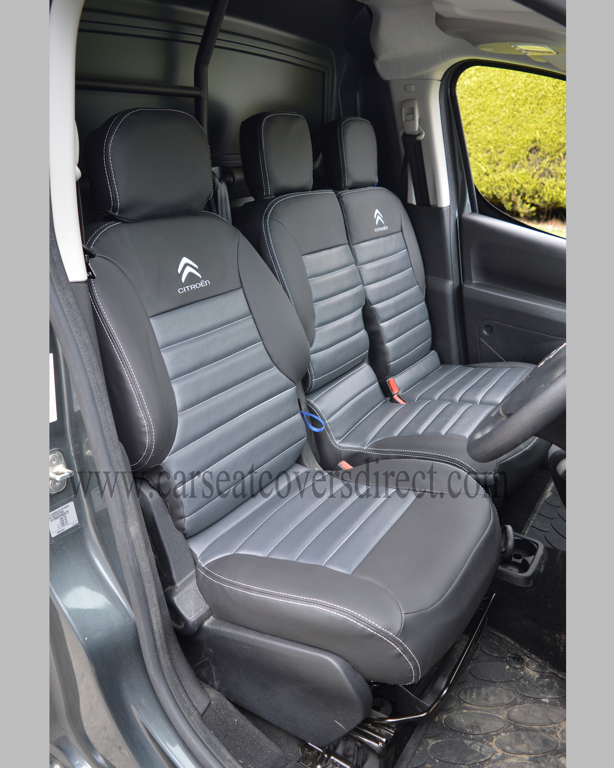 Citroen Berlingo Tailored Quilted Seat Covers - Charcoal & Modena Grey & Logos