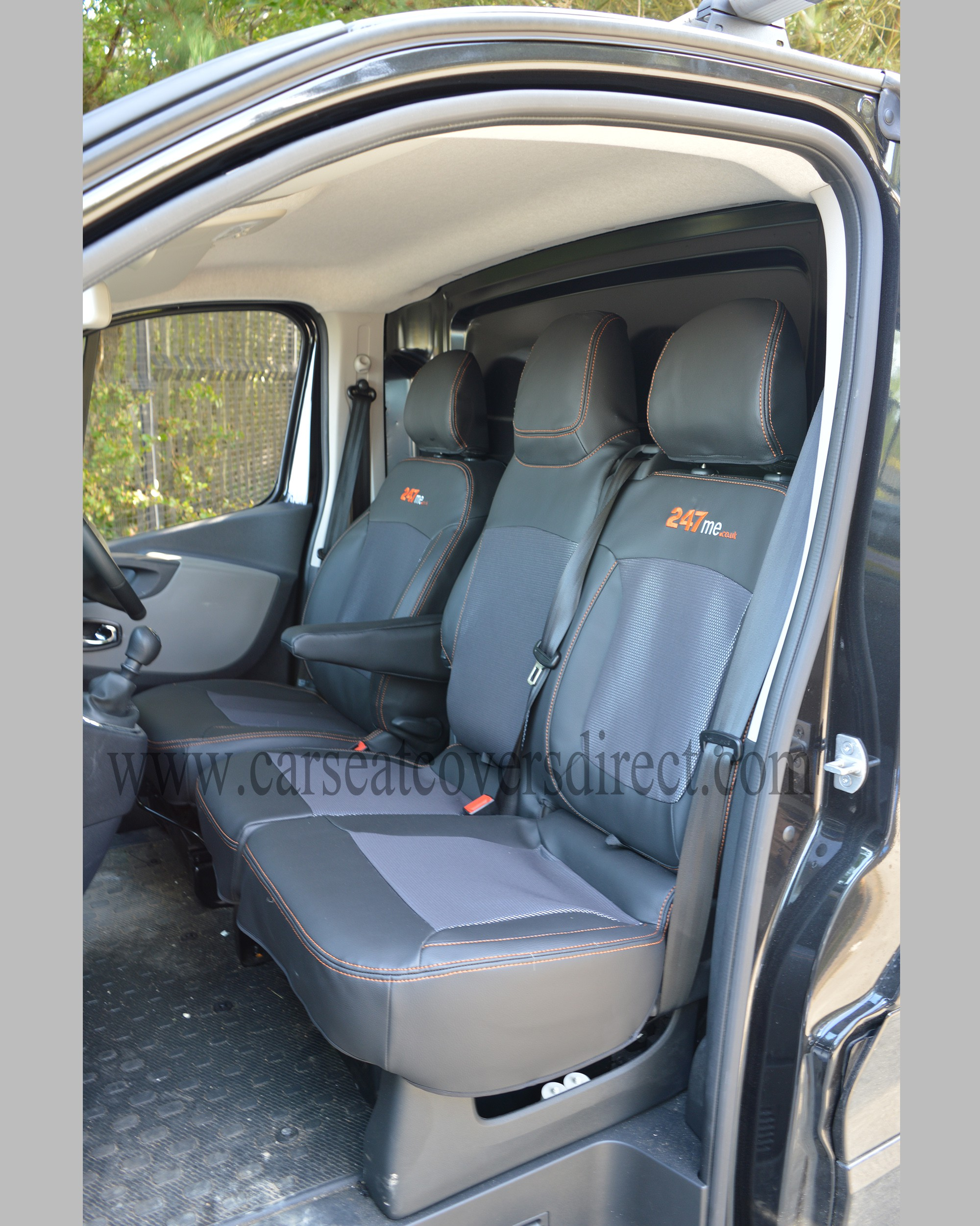 Opel Vivaro Seat Covers - Black Leatherette with Cloth Centres (3rd Gen)