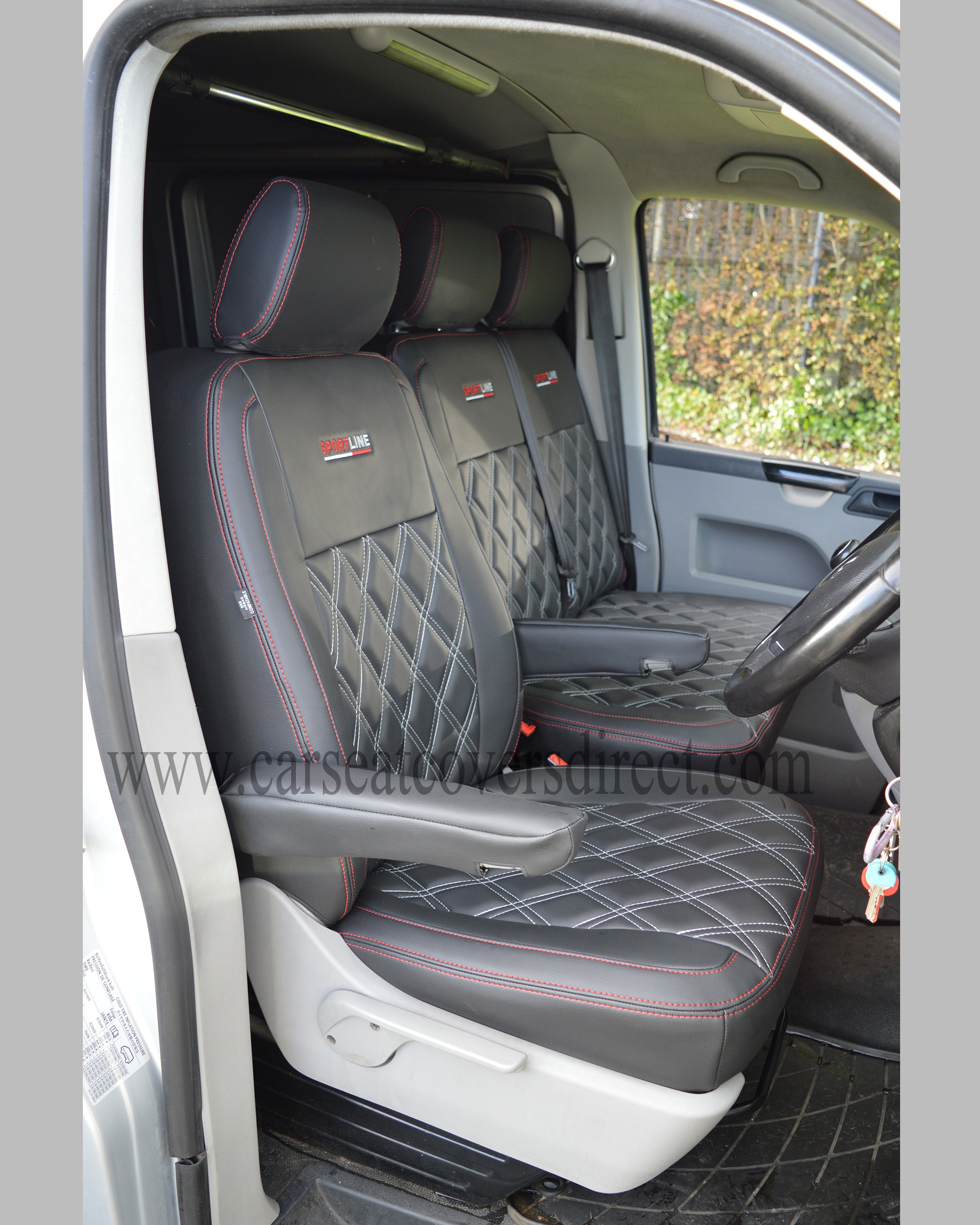 VW T5 front seats with custom charcoal grey seat covers