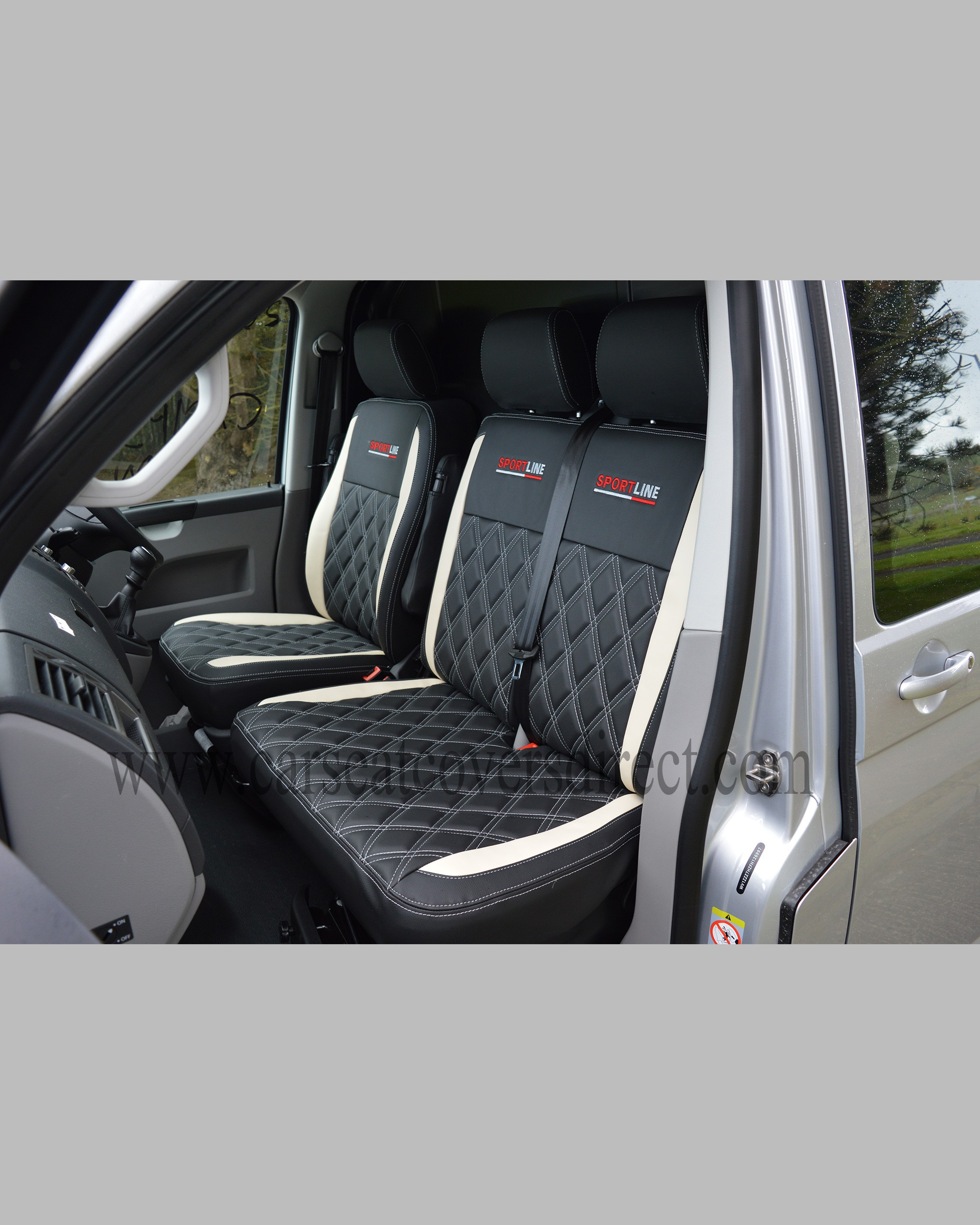 VW T5 front seats with black & white seat covers