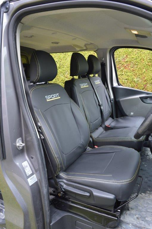 Vauxhall / Opel Vivaro - Black Leatherette Covers With Yellow Stitching & Logo