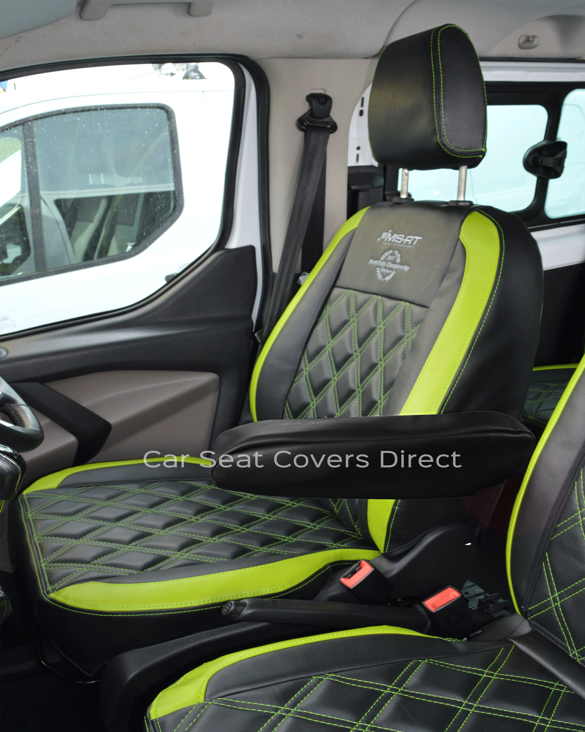 Ford Transit Custom Crewcab Tailored Van Seat Covers with Lime Green inserts double Diamond detailing (2013-Present)