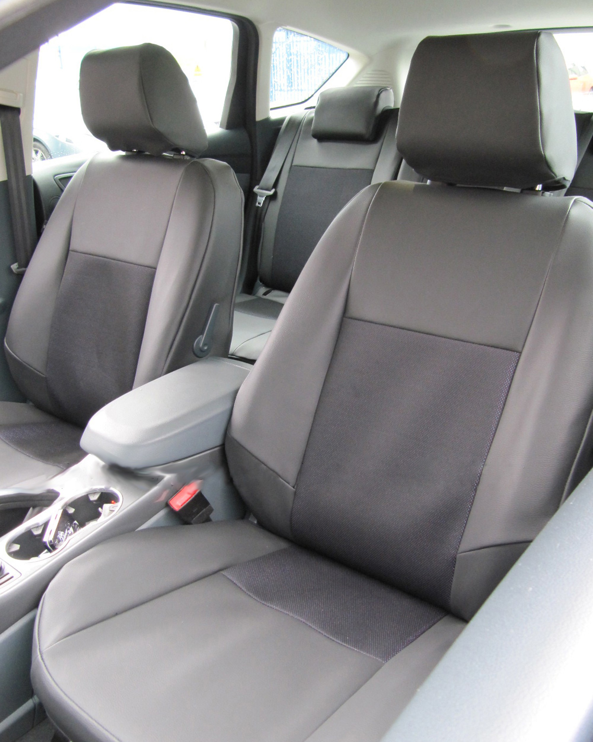 Ford C-Max - Black Leatherette & Fabric Centre Seat Covers