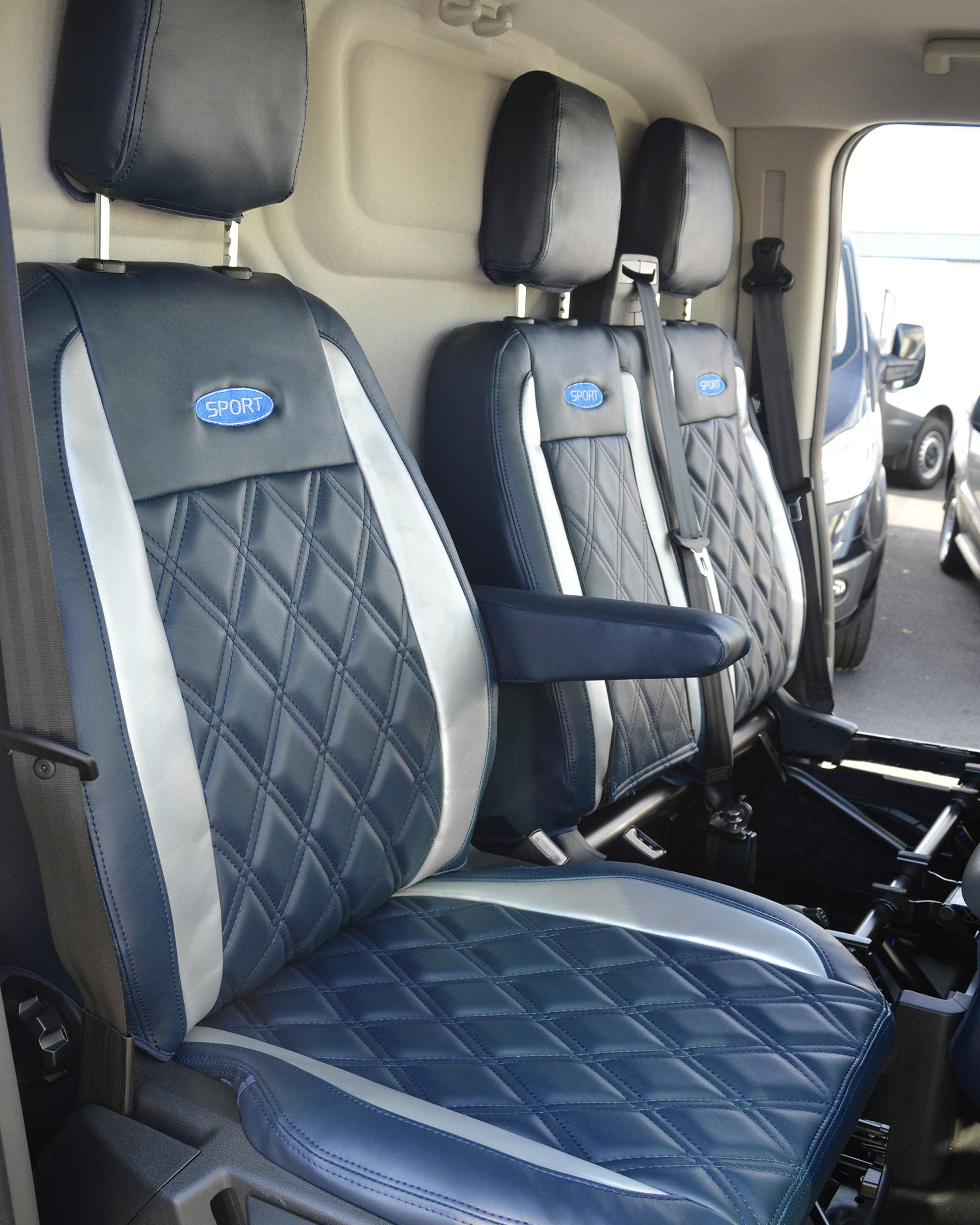 Ford Transit Custom - Navy & Silver Seat Covers