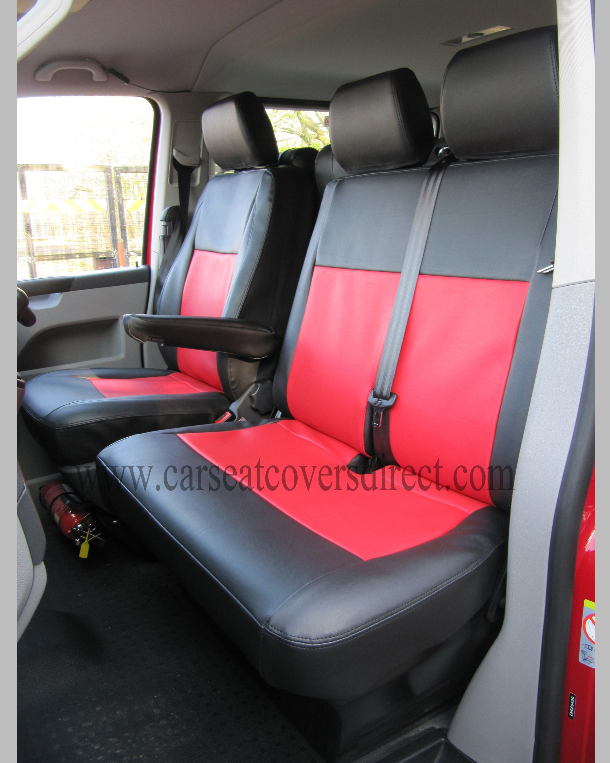 VOLKSWAGEN VW TRANSPORTER T5 9 SEATER Black & Red Seat Covers