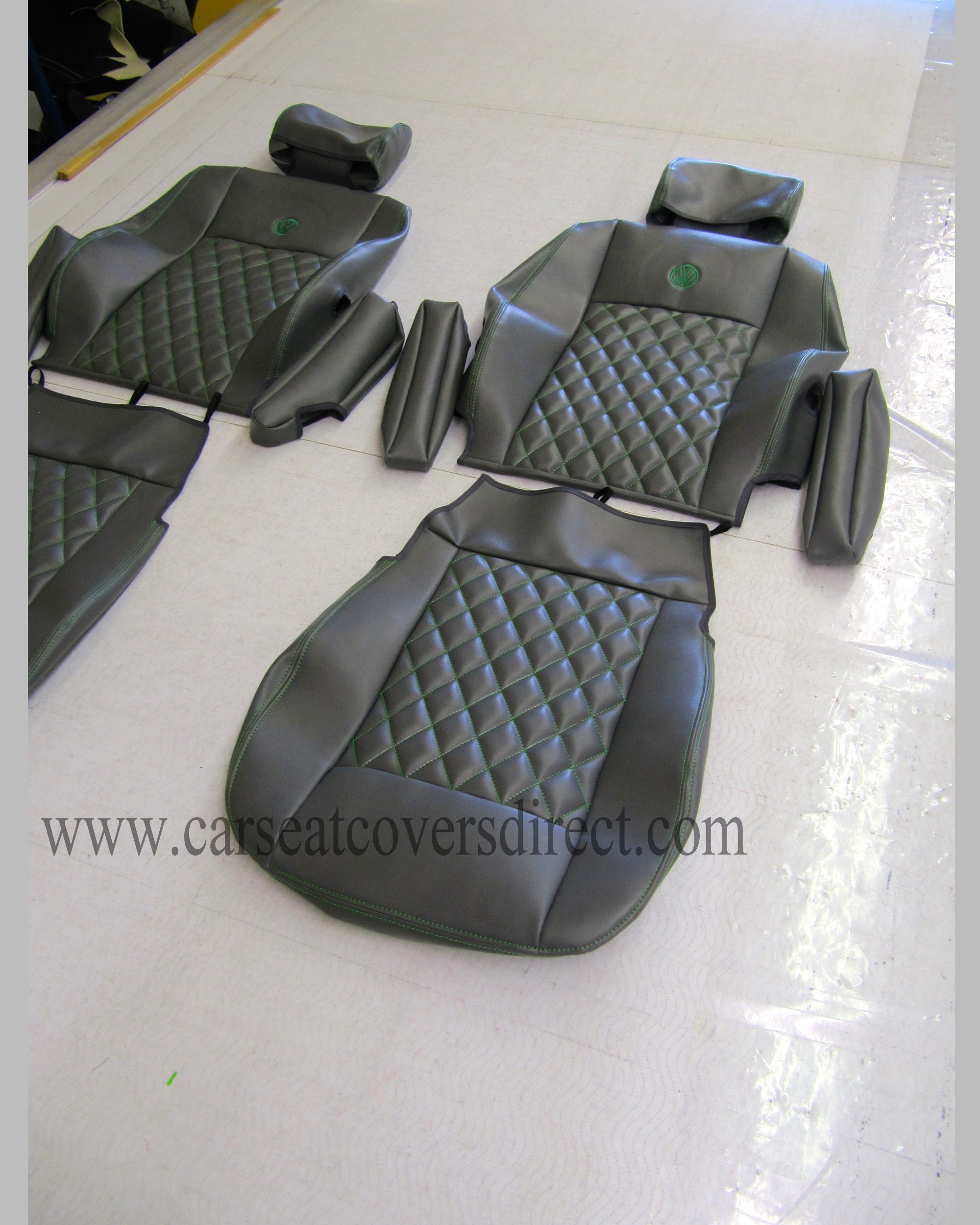 VOLKSWAGEN VW Transporter T4 Black Diamond Quilted Seat Covers