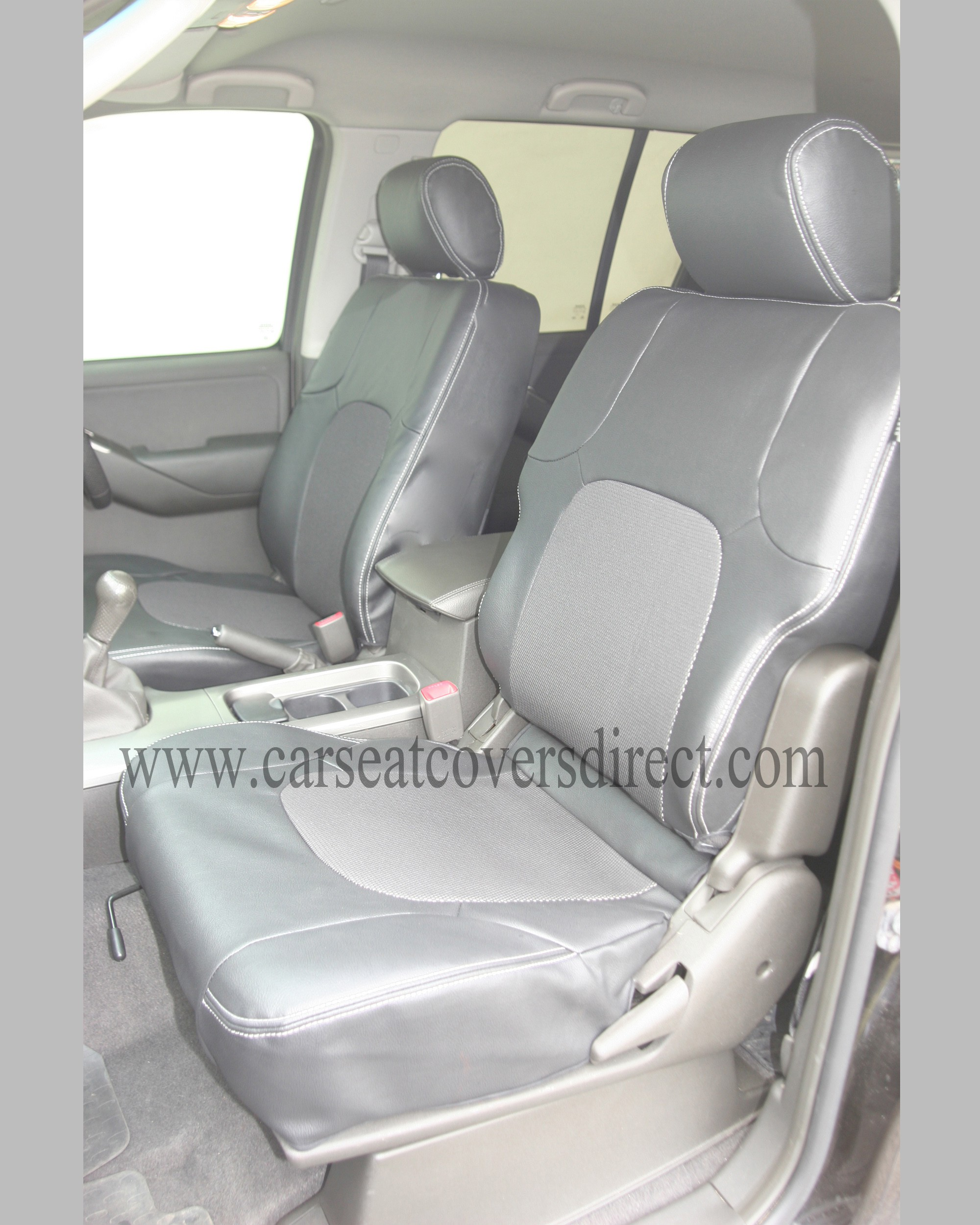 NISSAN PATHFINDER Family Pack Seat Covers 5 seats including Leather stitching and logos.
