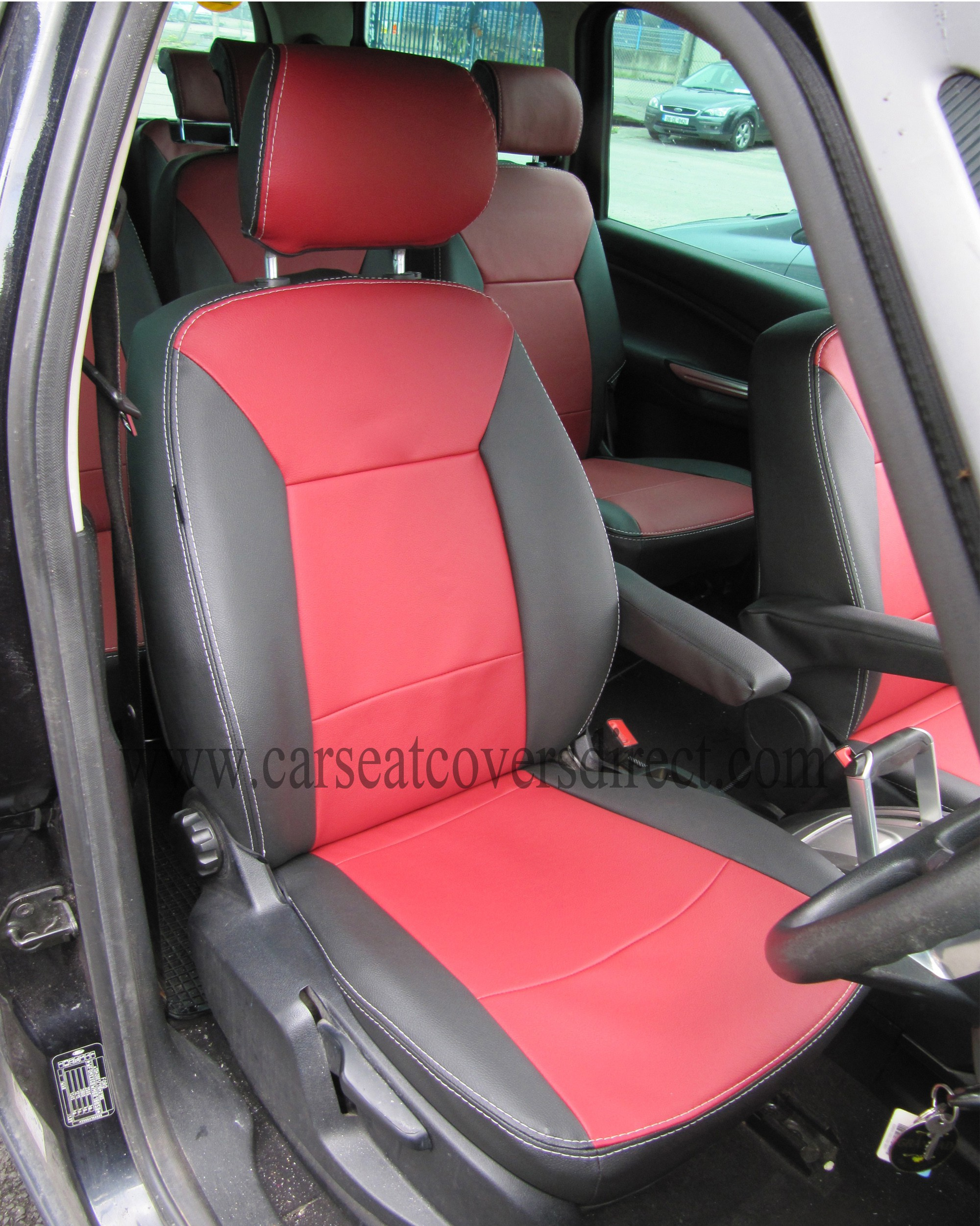 FORD GALAXY 3rd Gen Black & Red Leatherette Seat Covers