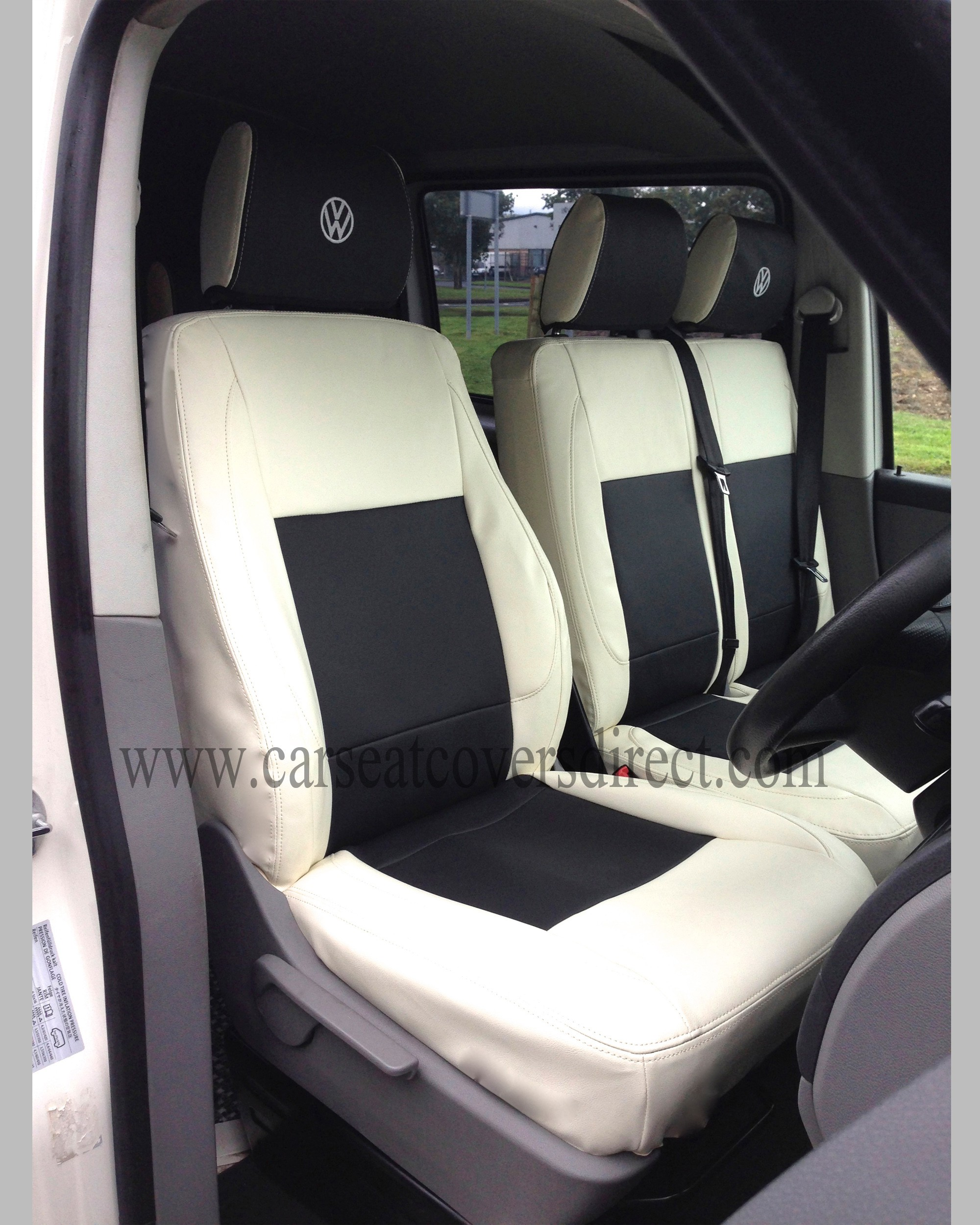 VW Transporter T5 white and black seat covers