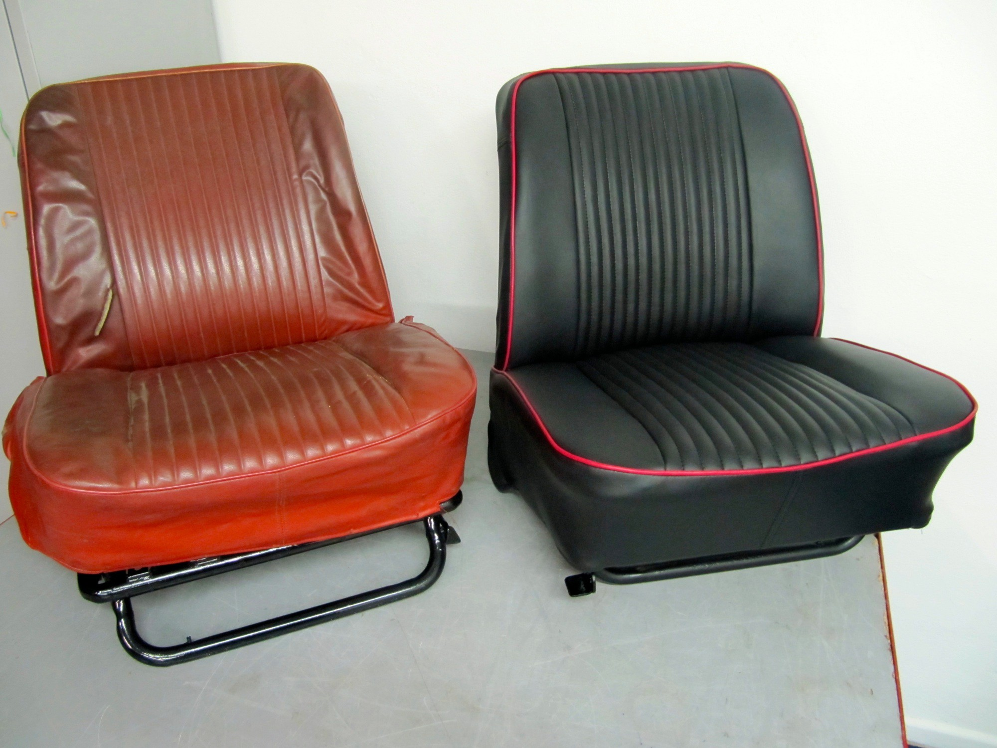 FORD ANGLIA FRONT SEAT RETRIM. This is the before and after Photos. Please Ask For More Details.