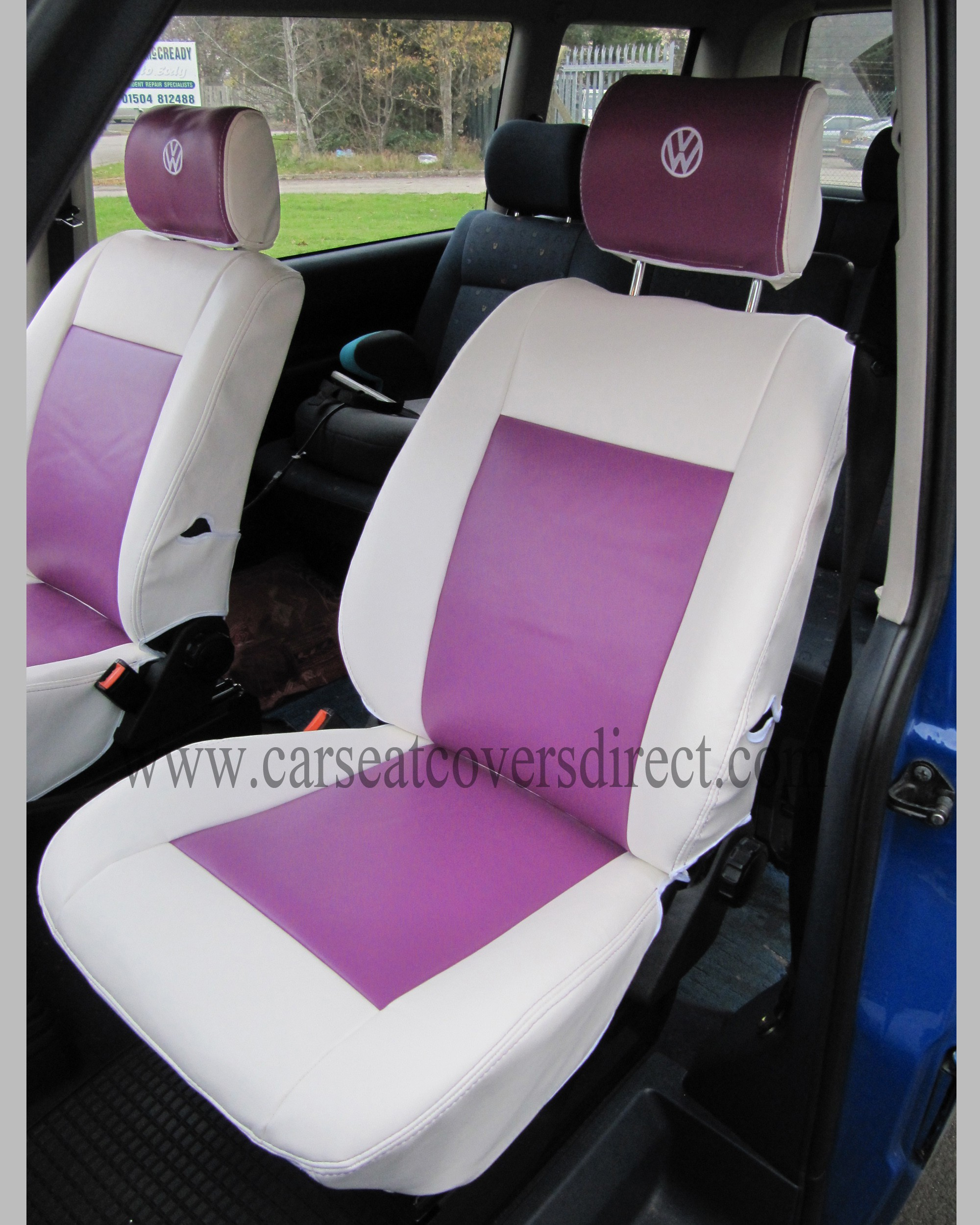 VOLKSWAGEN VW Transporter T4 White & Grape Seat Covers