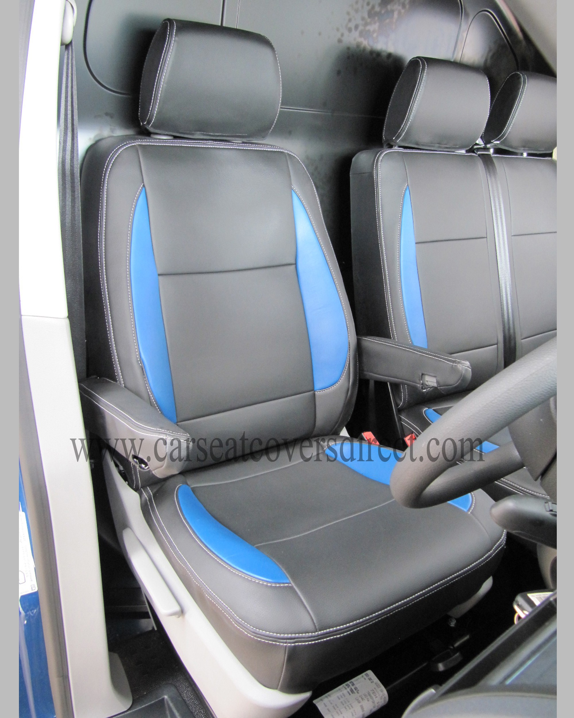 VW Transporter T5 black and blue seat covers