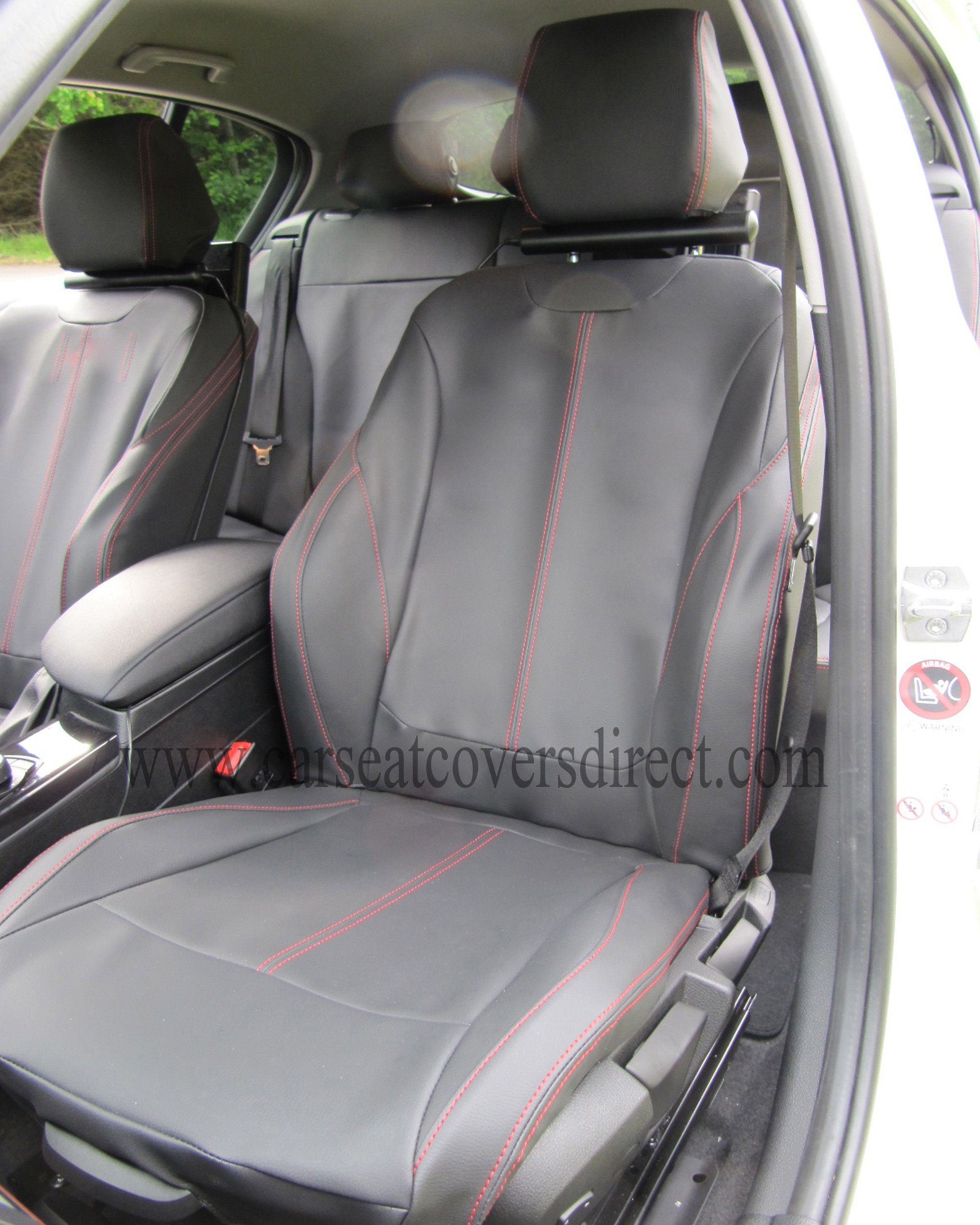 BMW 1 SERIES F20 Black Leatherette With Red Stitching Seat Covers
