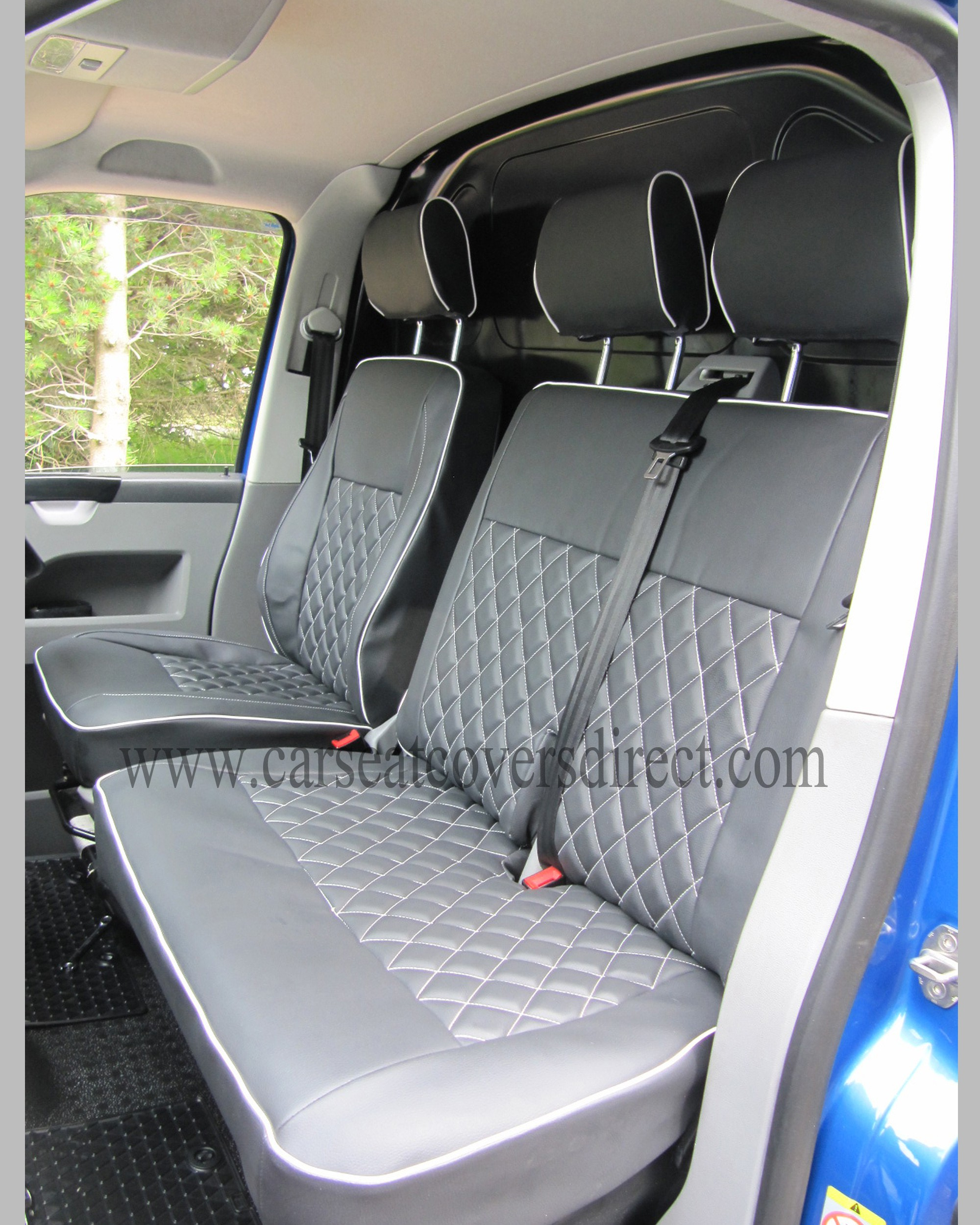Front Seats with black & grey diamond stitched seat cover