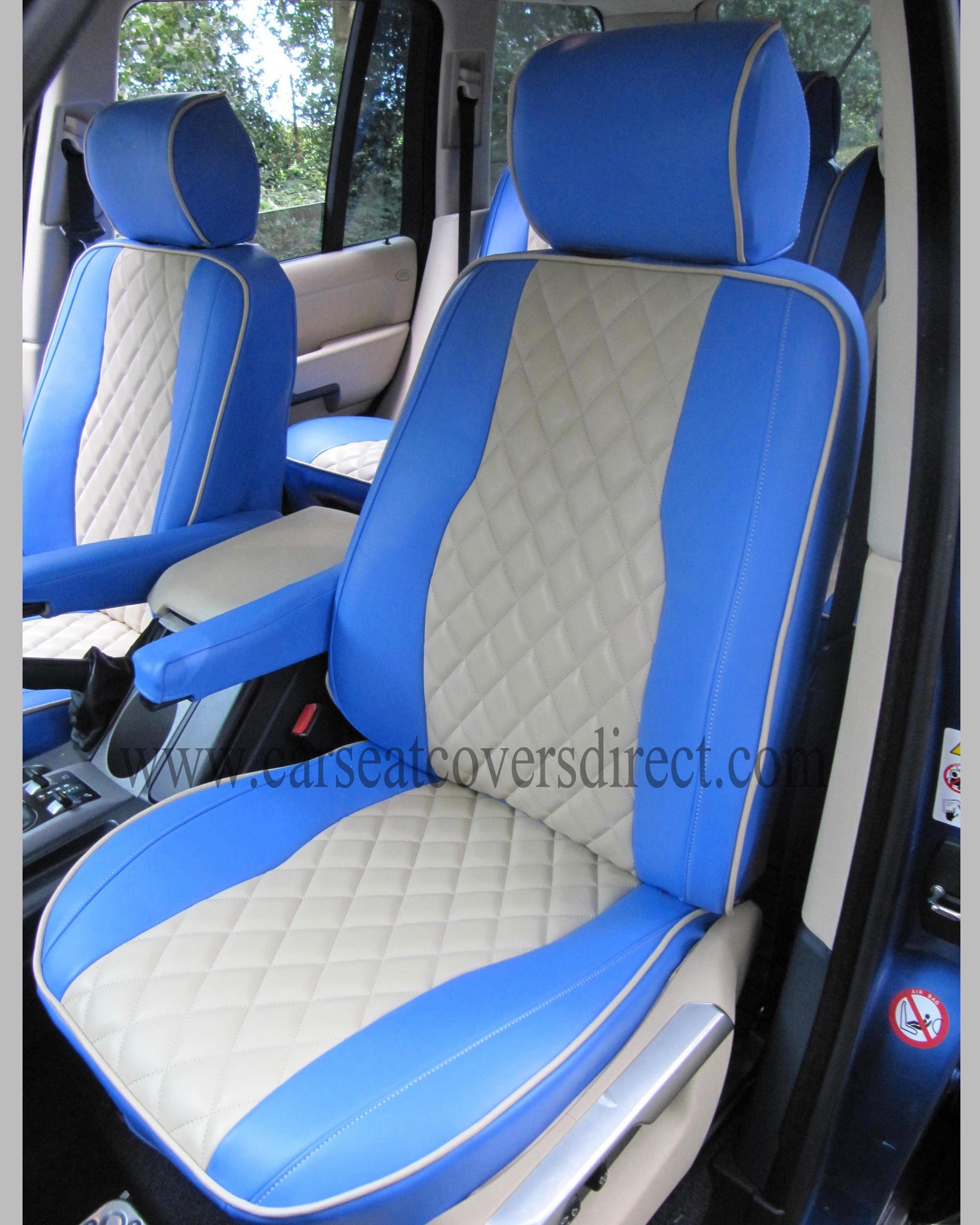 Range Rover vogue blue & cream Seat Covers