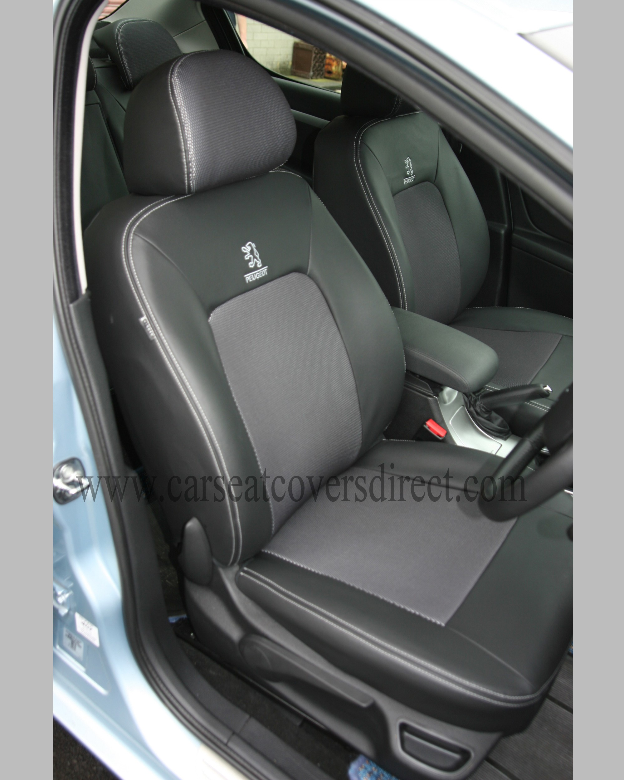 Custom PEUGEOT 407 Black Leatherette And Grey Cloth Centres Seat Covers