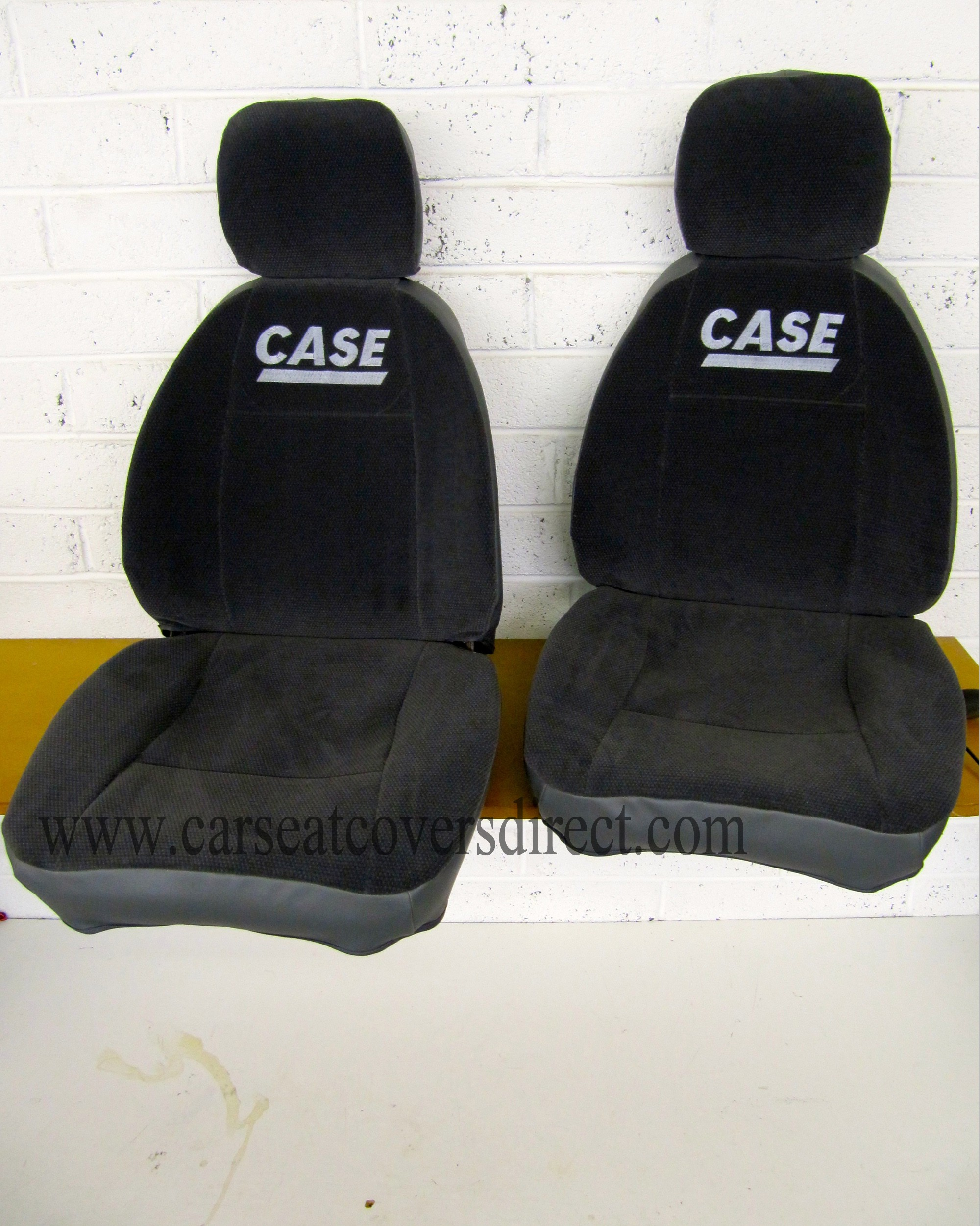 PAIR OF CUSTOM JCB CASE POCLAIN SEAT COVERS