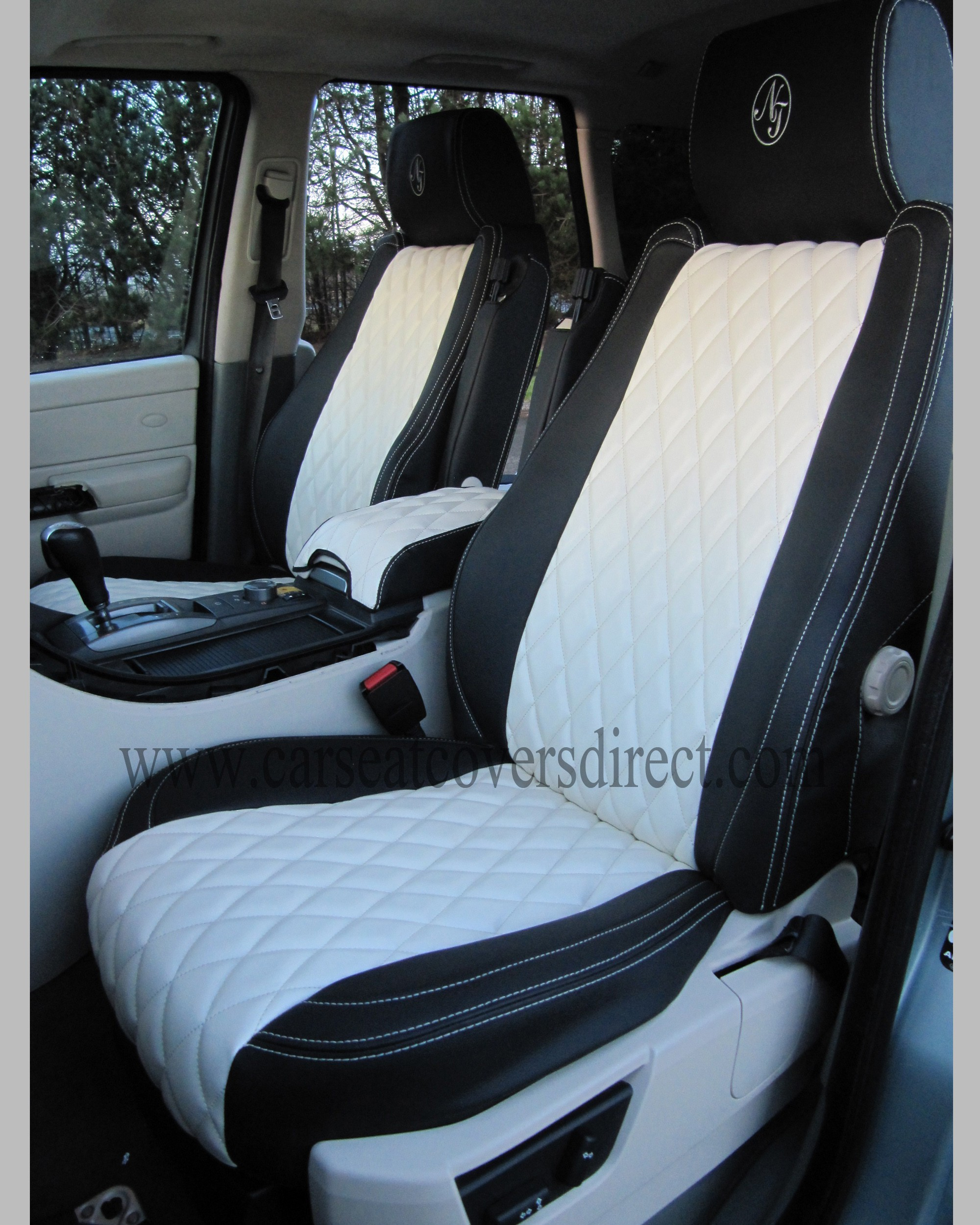Range Rover Sport Seat Covers - Charcoal PVC with Sea Green Side Panels