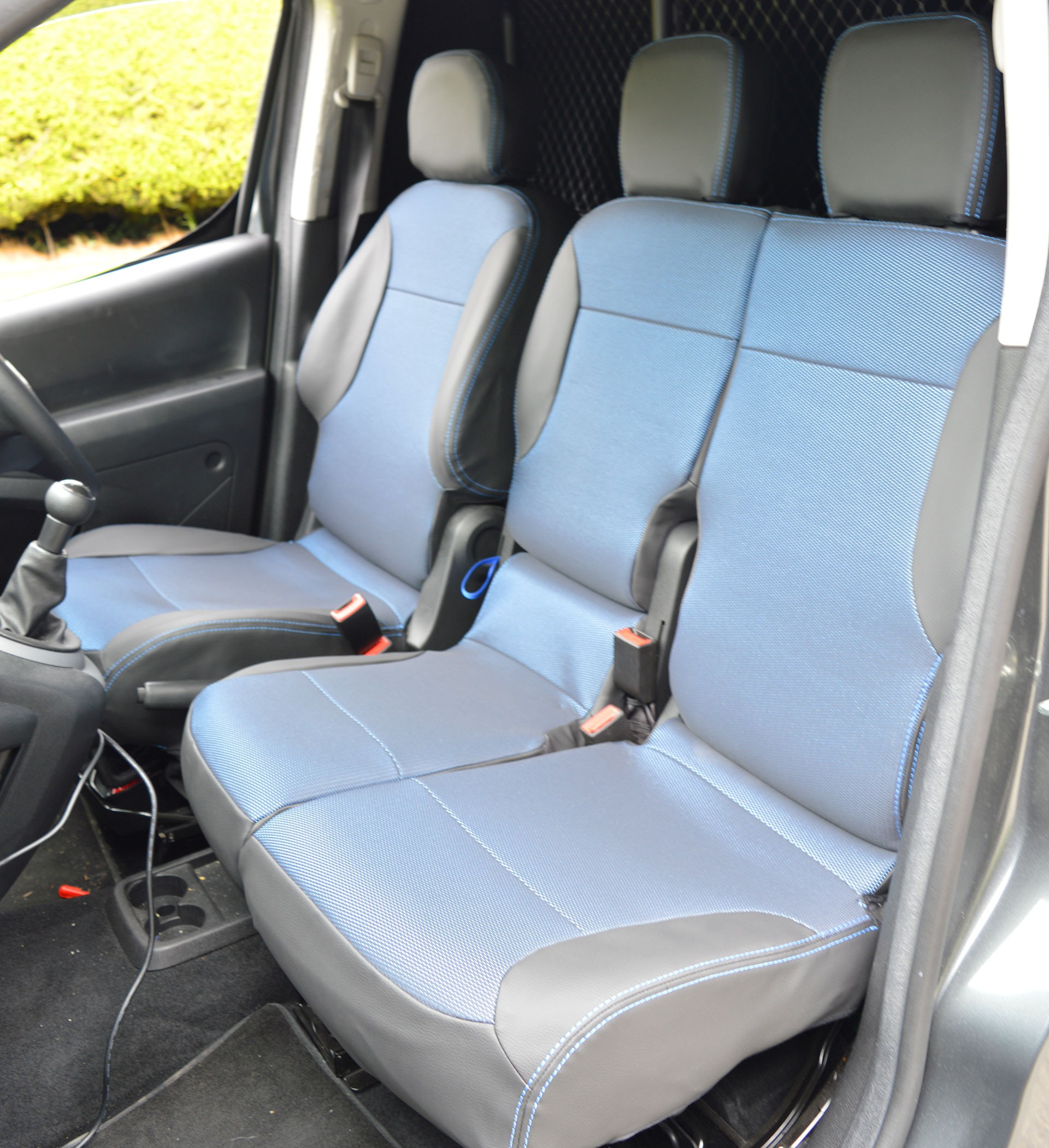 Peugeot Partner Tailored Leatherette & Fabric Van Seat Covers