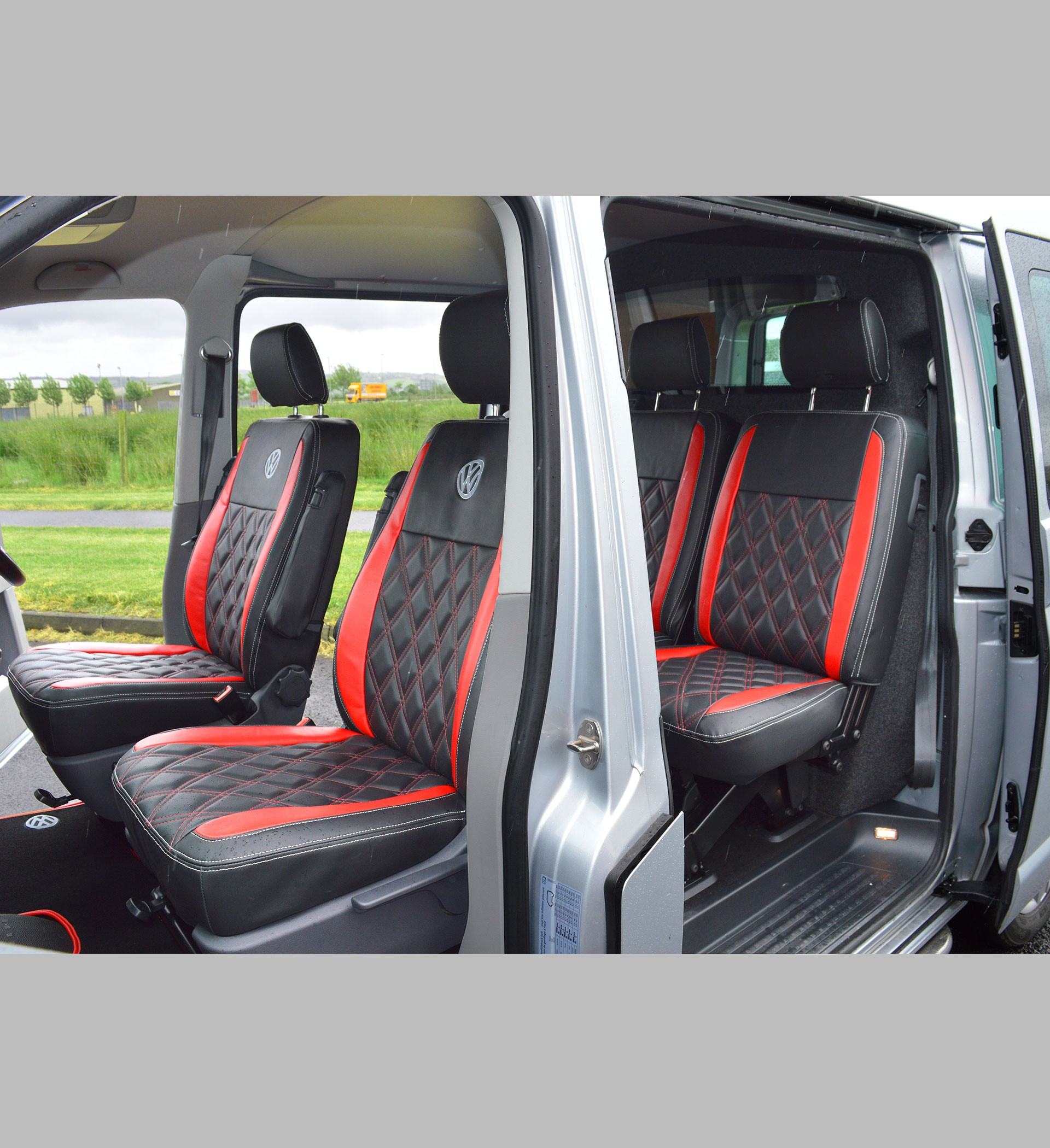 VW Transporter T6 Kombi Captain Seats Covers Red Diamond Quilted