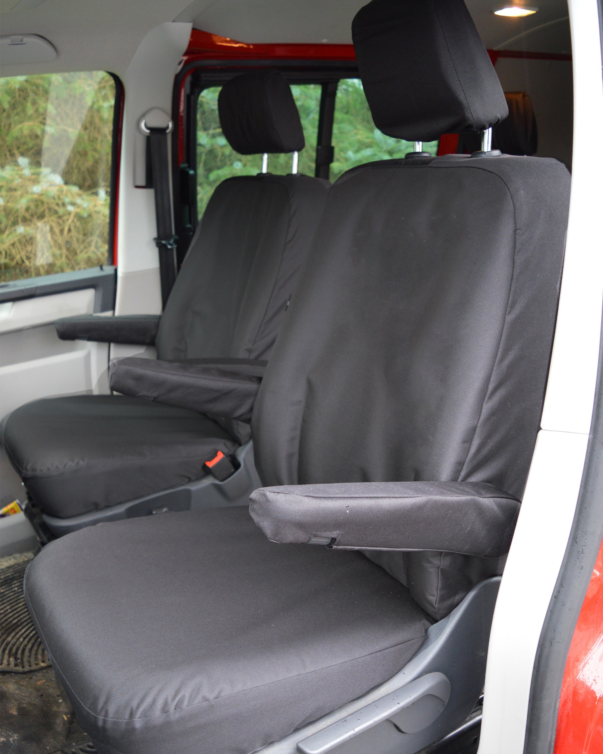 VW Transporter T5 Kombi with Captain Seats Heavy Duty Van Seat Covers - Black
