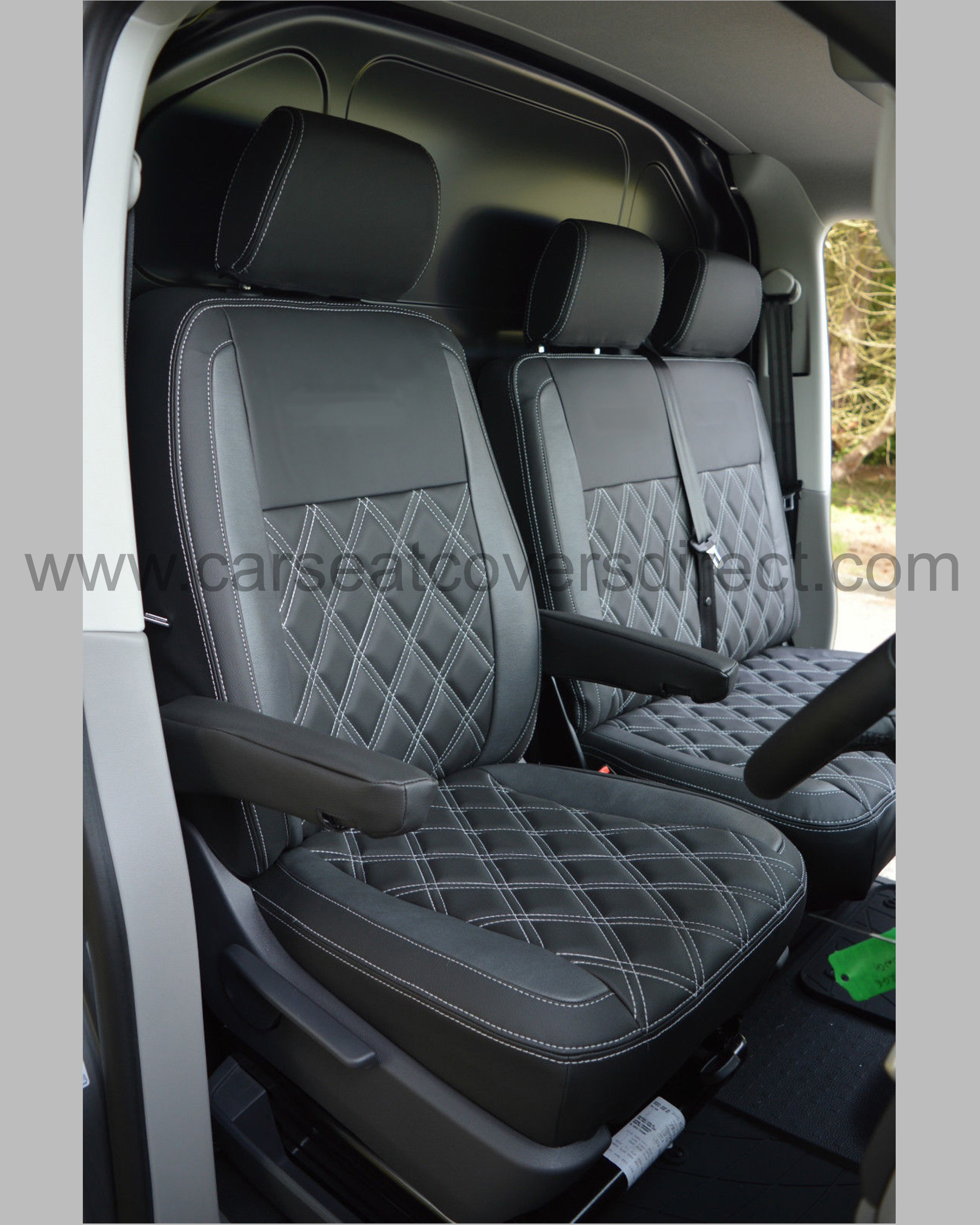 Volkswagen VW Transporter T5 Seat Covers - Black & Pewter Grey