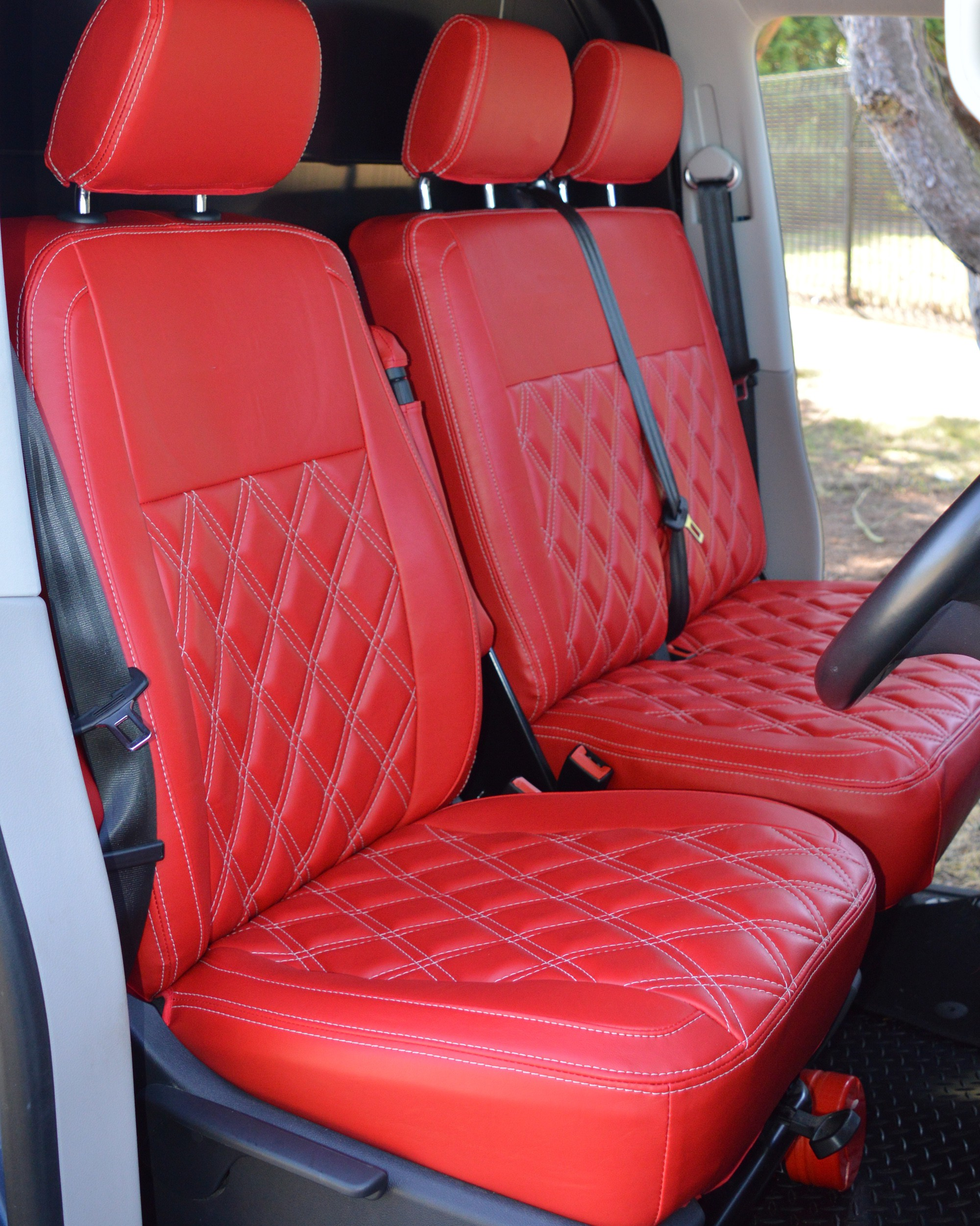 VW Transporter T5 Highline Kombi Seat Covers Red Diamond Quilted