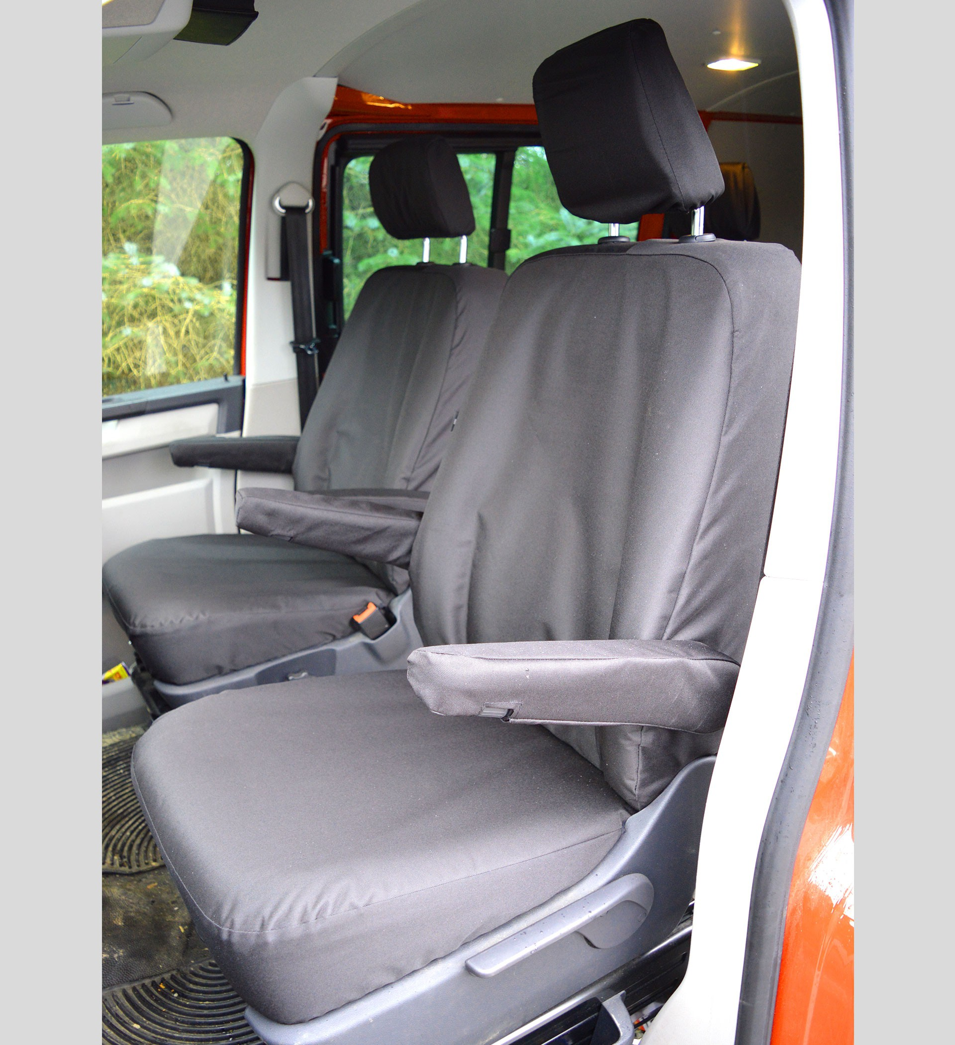 VW Transporter T6 Kombi with Captain Seats Heavy Duty Van Seat Covers - Black