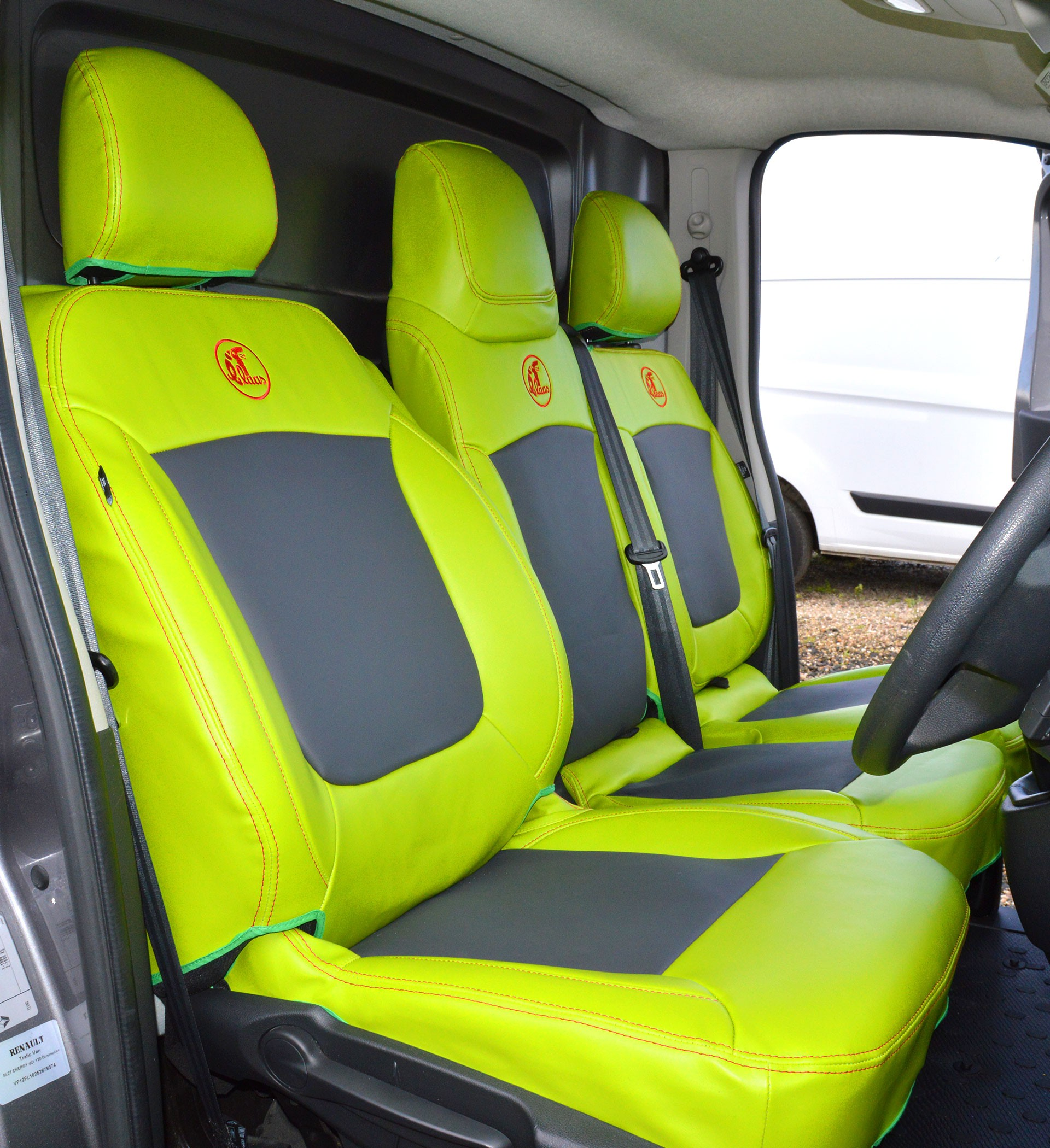 Renault Tranfic Citrus Green Leatherette Van Seat Covers