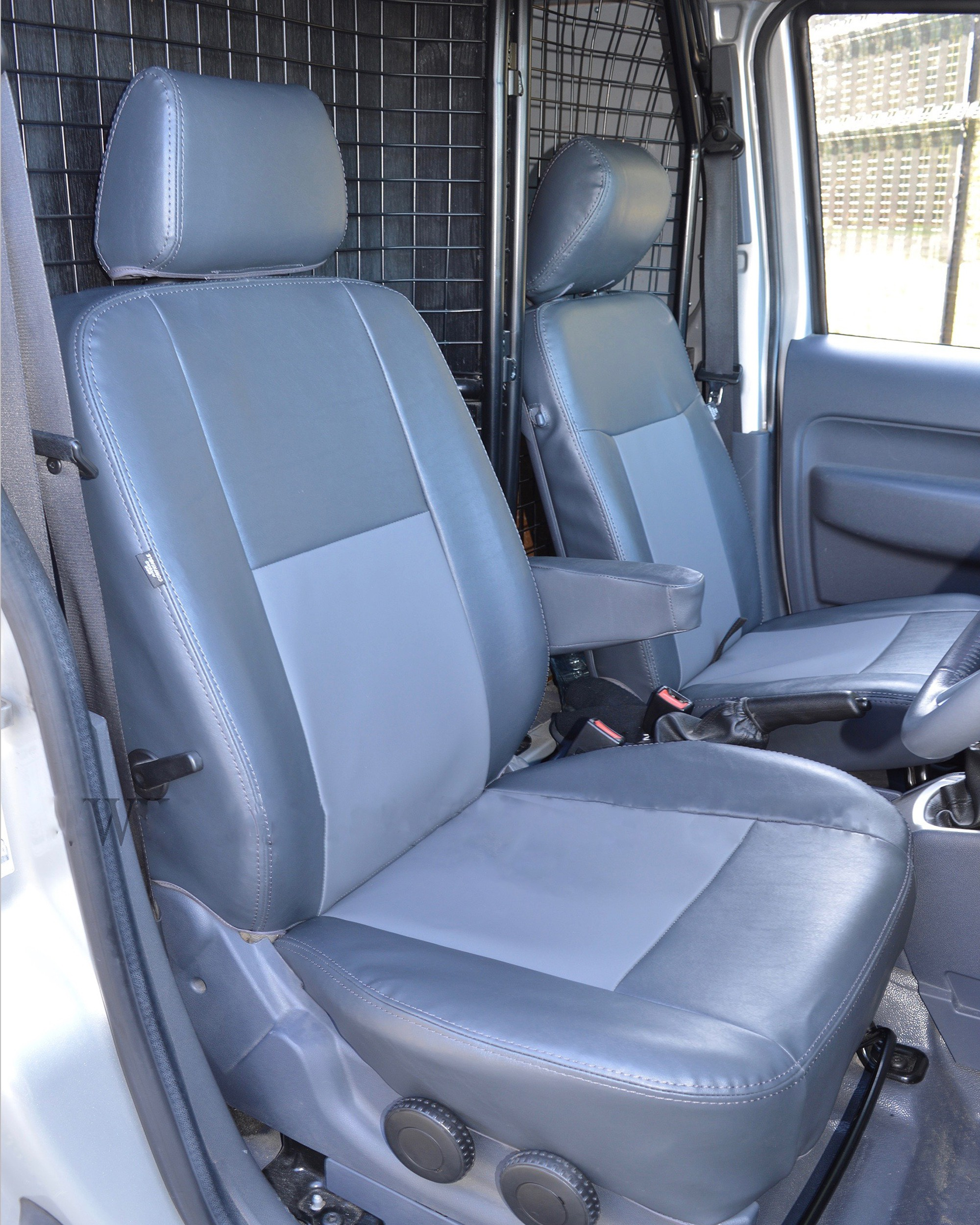 Ford Transit Connect Seat Covers - Black With Grey Insert