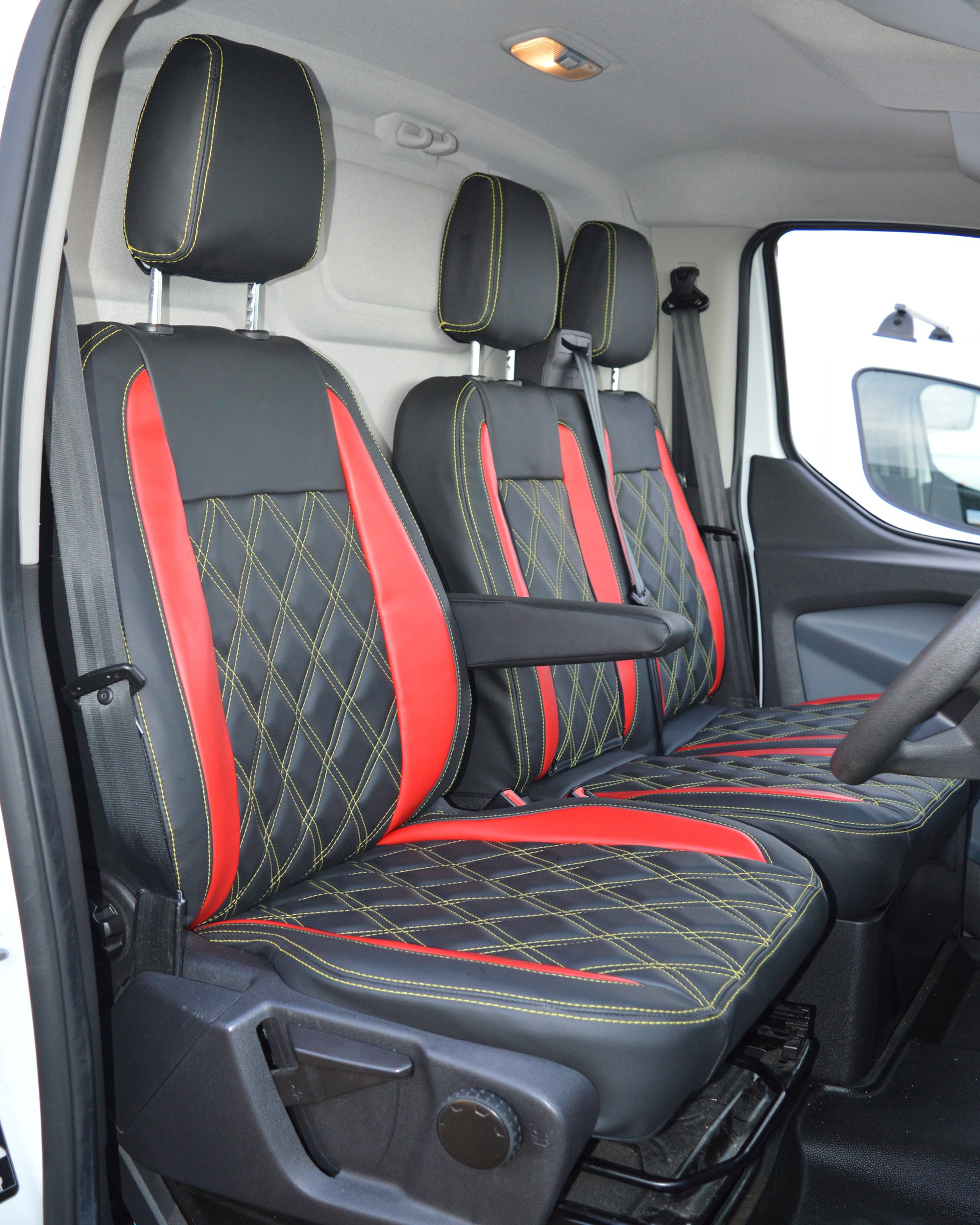 Ford Transit Custom Red & Black Seat Covers