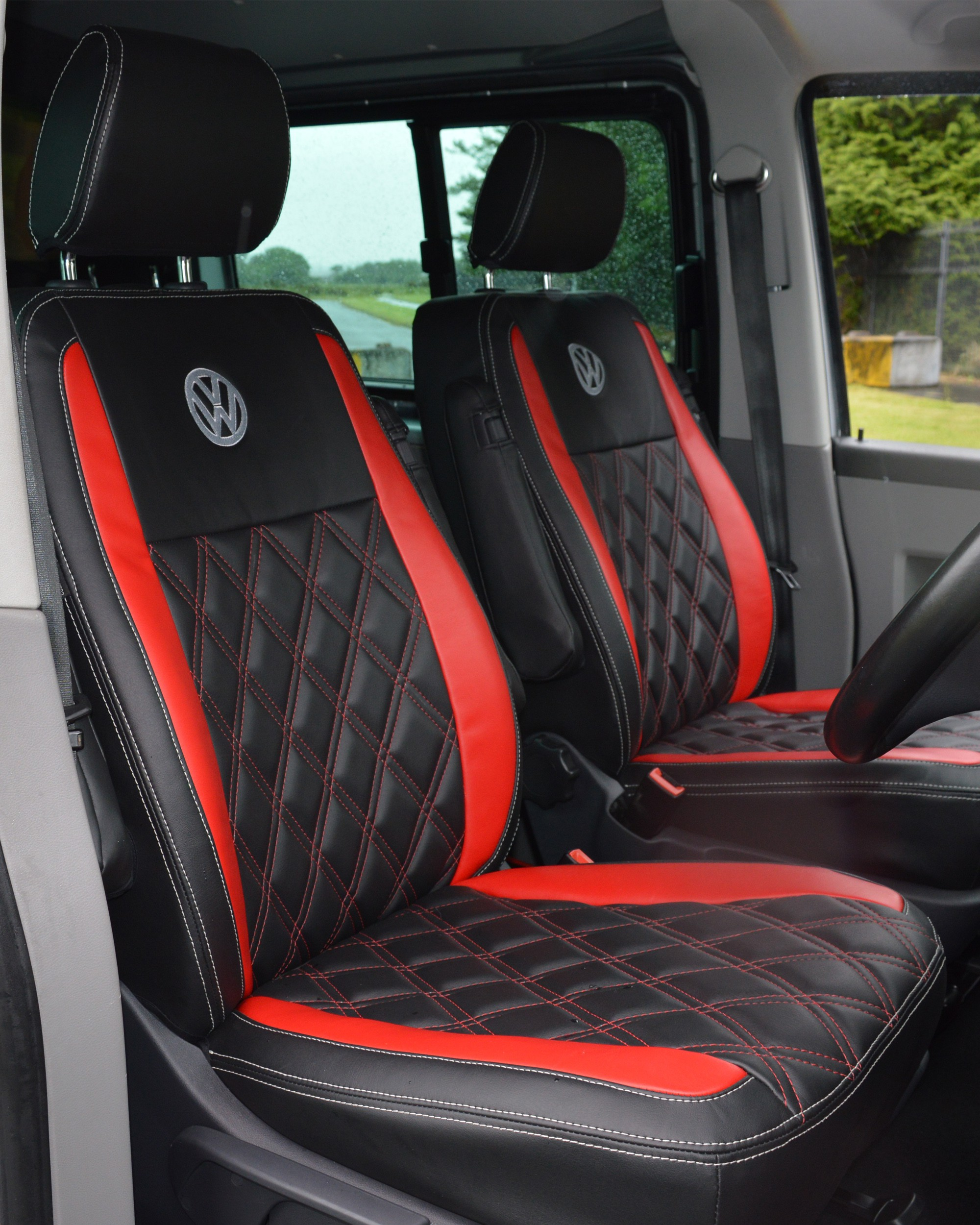 VW Transporter T5 Kombi Captain Seats Covers Red Diamond Quilted
