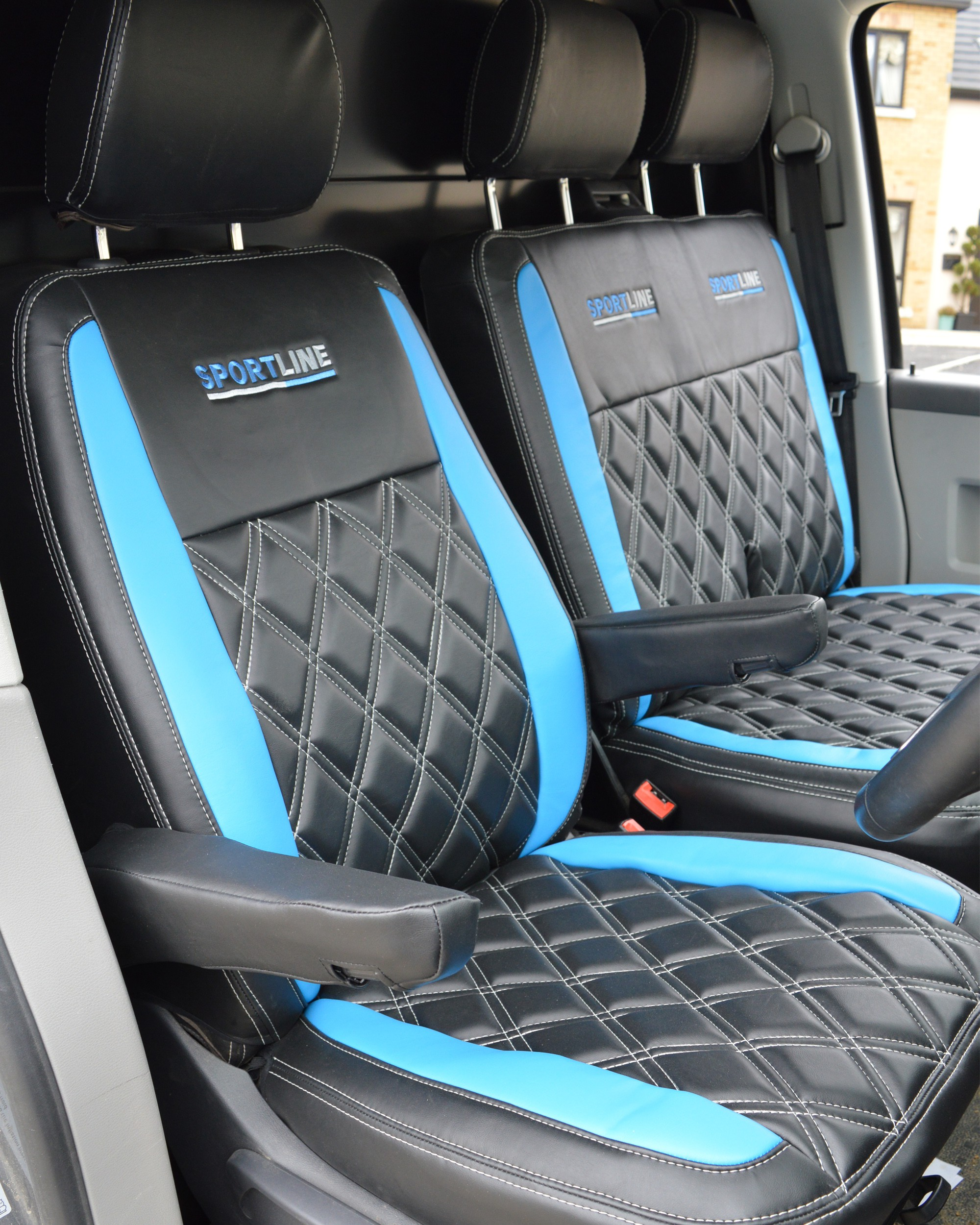 VW Transporter T5 Sportline Diamonds - Black with Blue Inserts